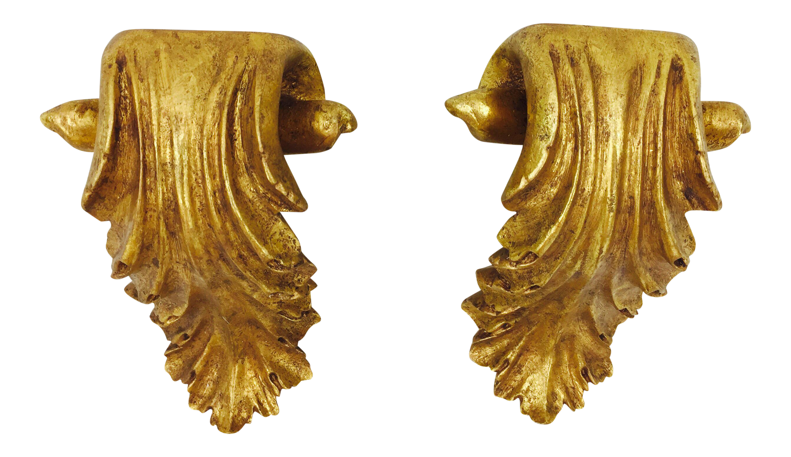 Gilded Gold Wall Shelf Sconce A Pair