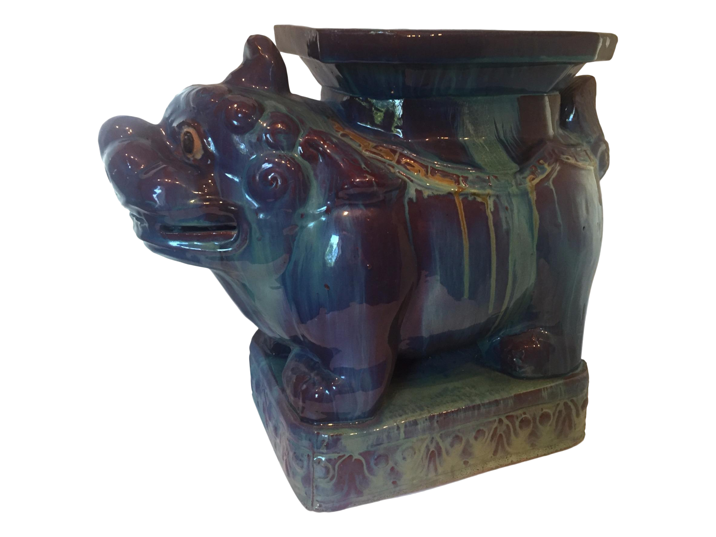 Fine Vintage Chinese Dripped Glazed Porcelain Kylin Foo Dog Garden Stool Pabps2019 Chair Design Images Pabps2019Com