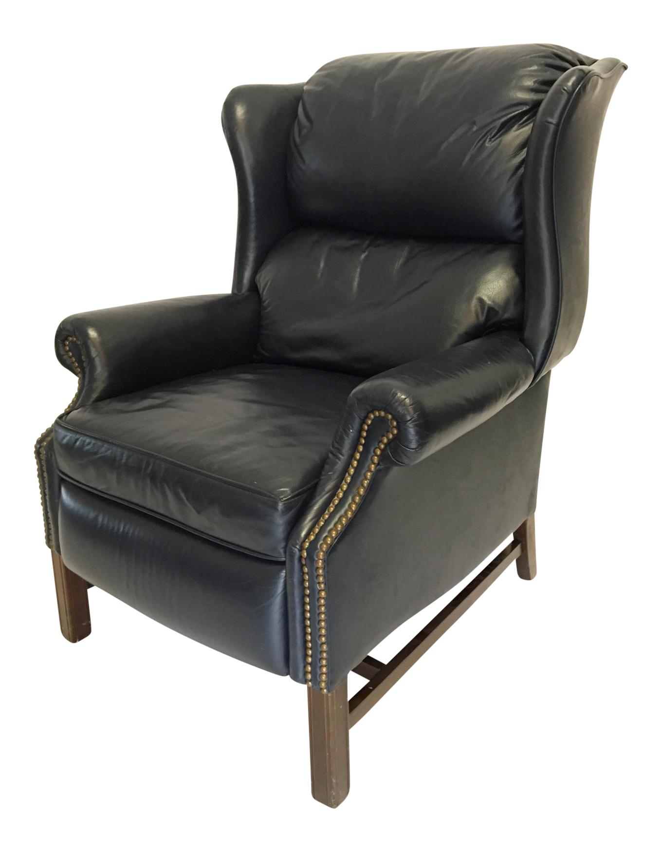 Lane Navy Leather Mid Century Wingback Recliner Chairish