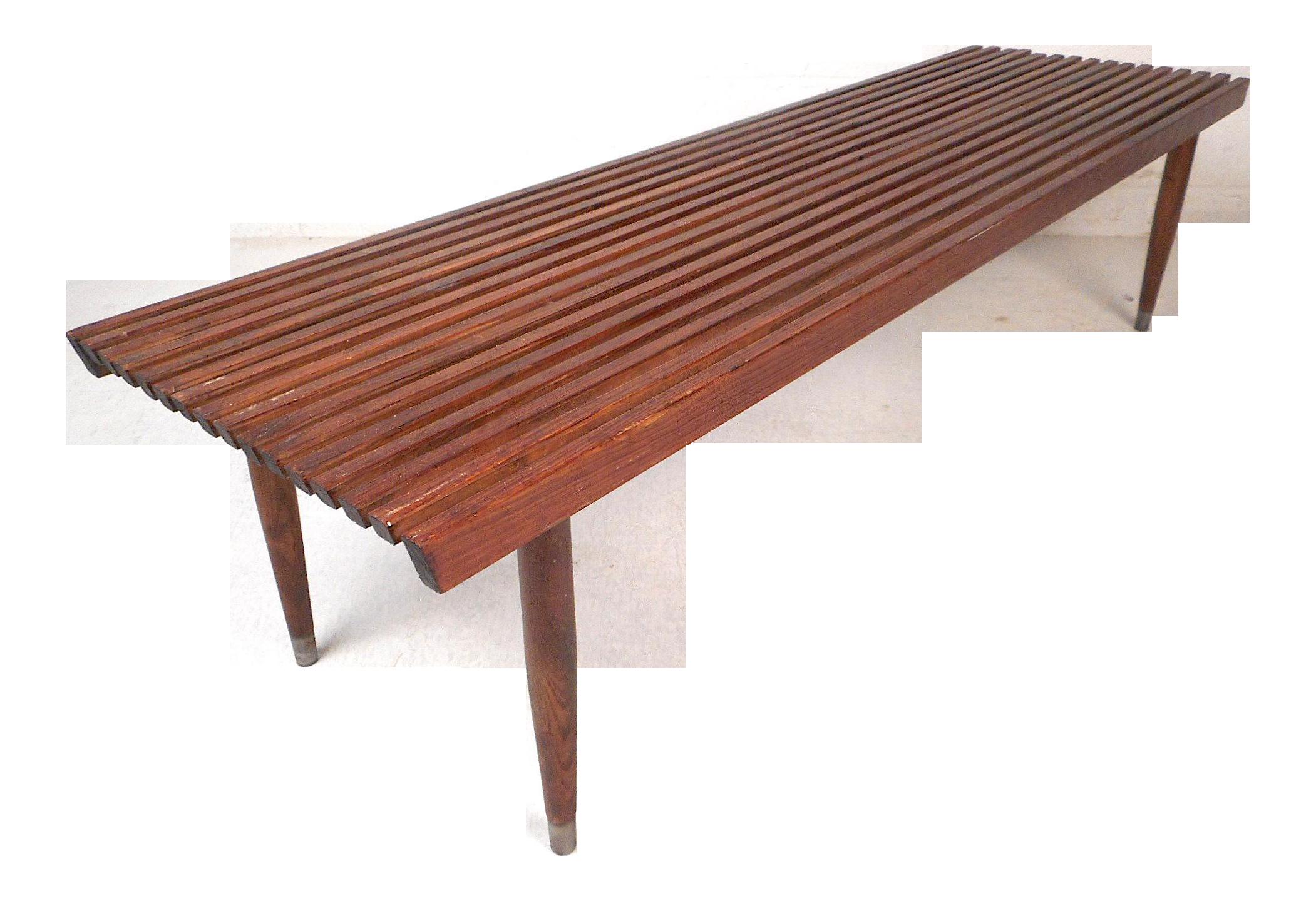 Mid Century Modern Wood Slat Bench