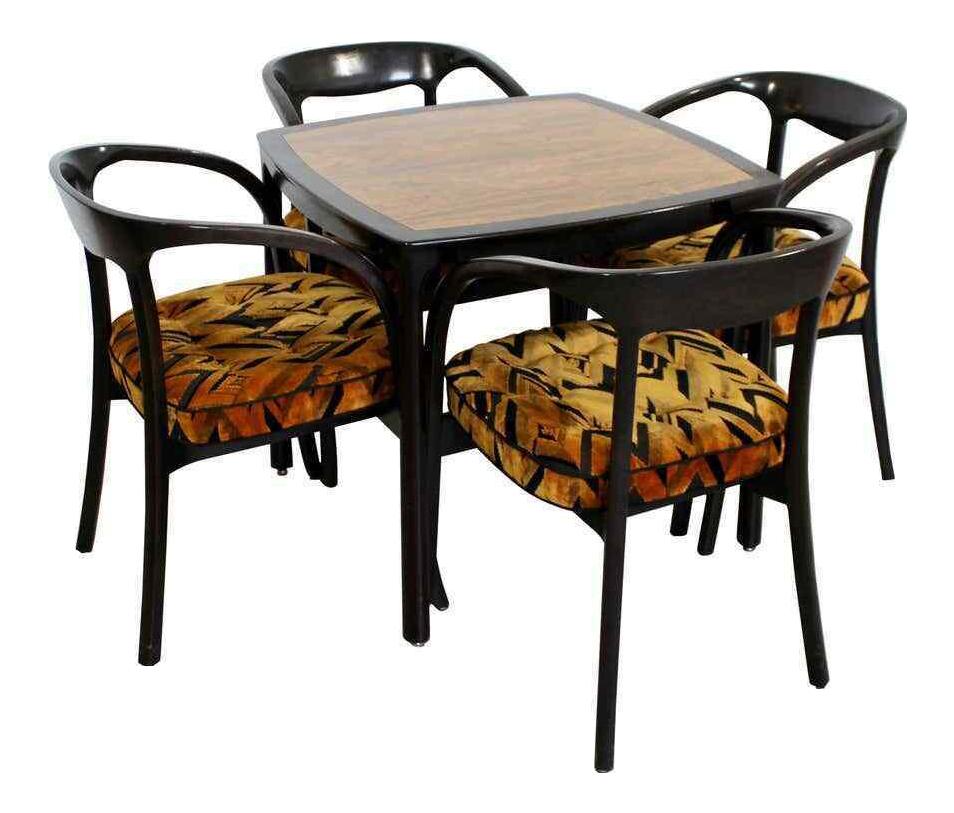 Mid Century Modern Wormley Dunbar Rosewood Mahogany Game Table 4 Chairs 1970s Set Of 5 Chairish
