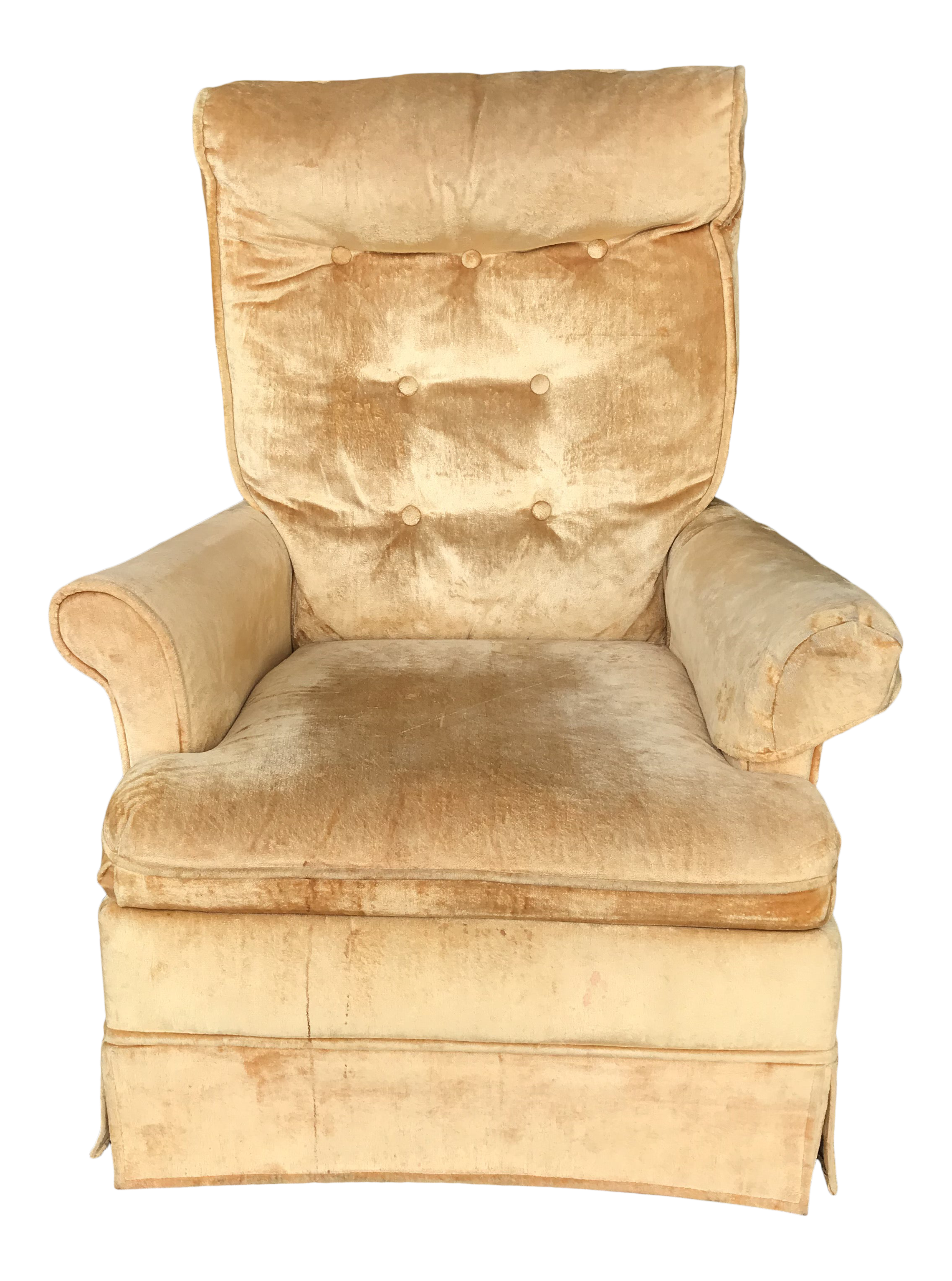 Picture of: Tufted Gold Velvet Swivel Chair Chairish