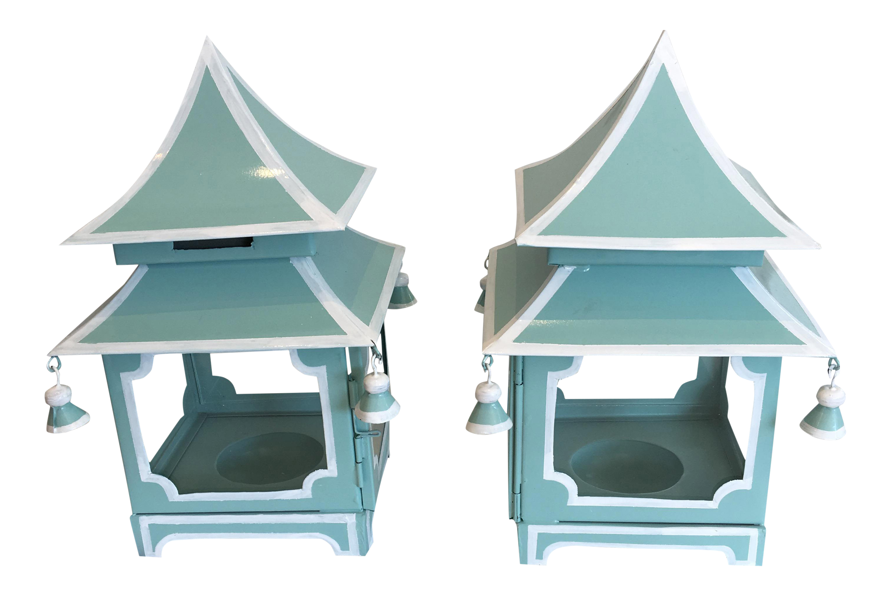 Blue Pagoda Candle Lanterns - A Pair | Chairish