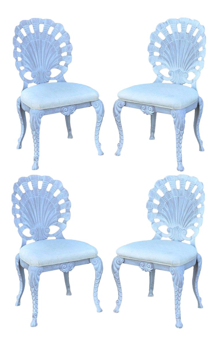 4 Vintage Pulaski Hollywood Regency Cast Iron Shell Grotto Patio Dining  Chairs | Chairish