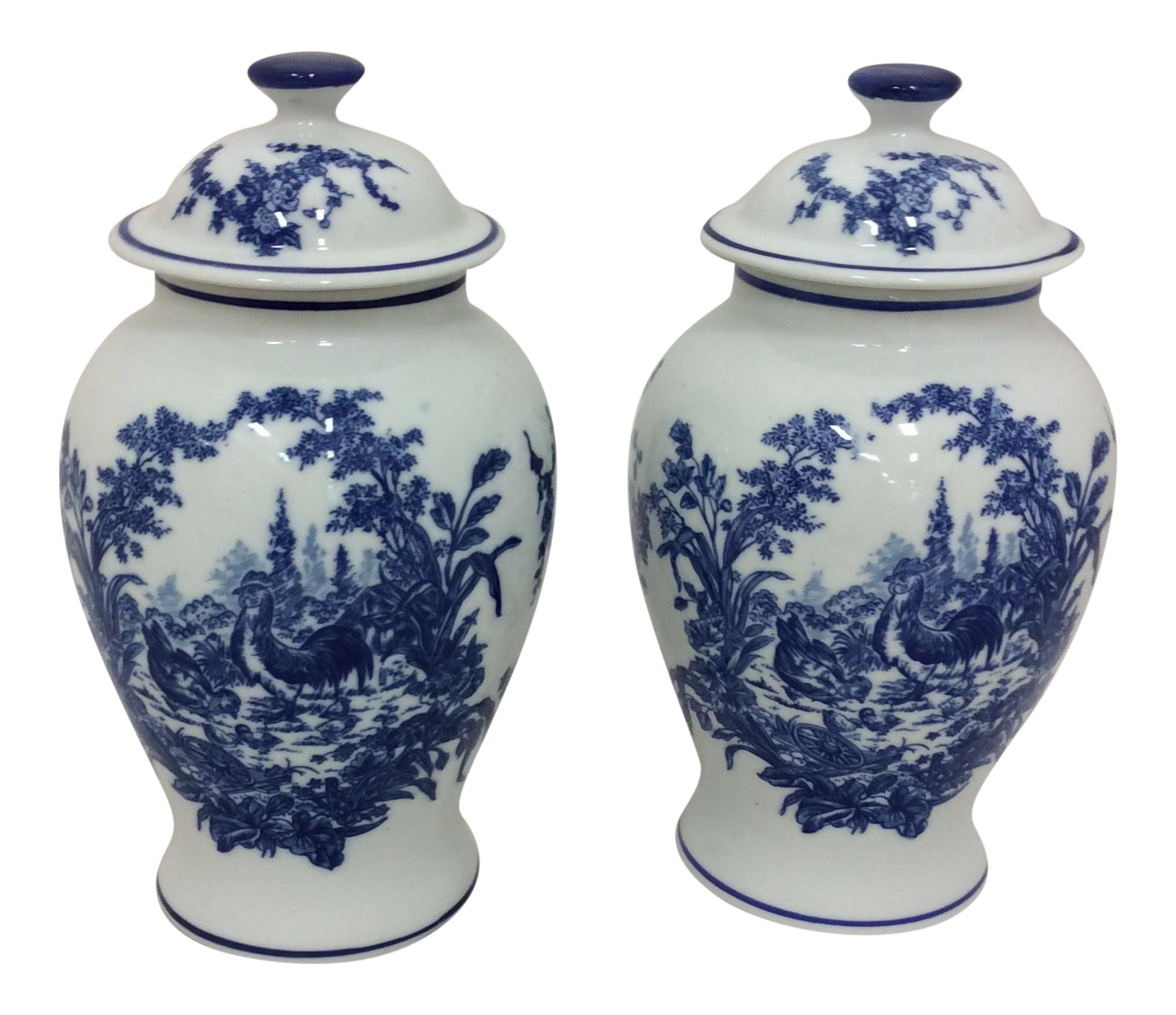 Baum brothers french toile ginger jars a pair chairish reviewsmspy