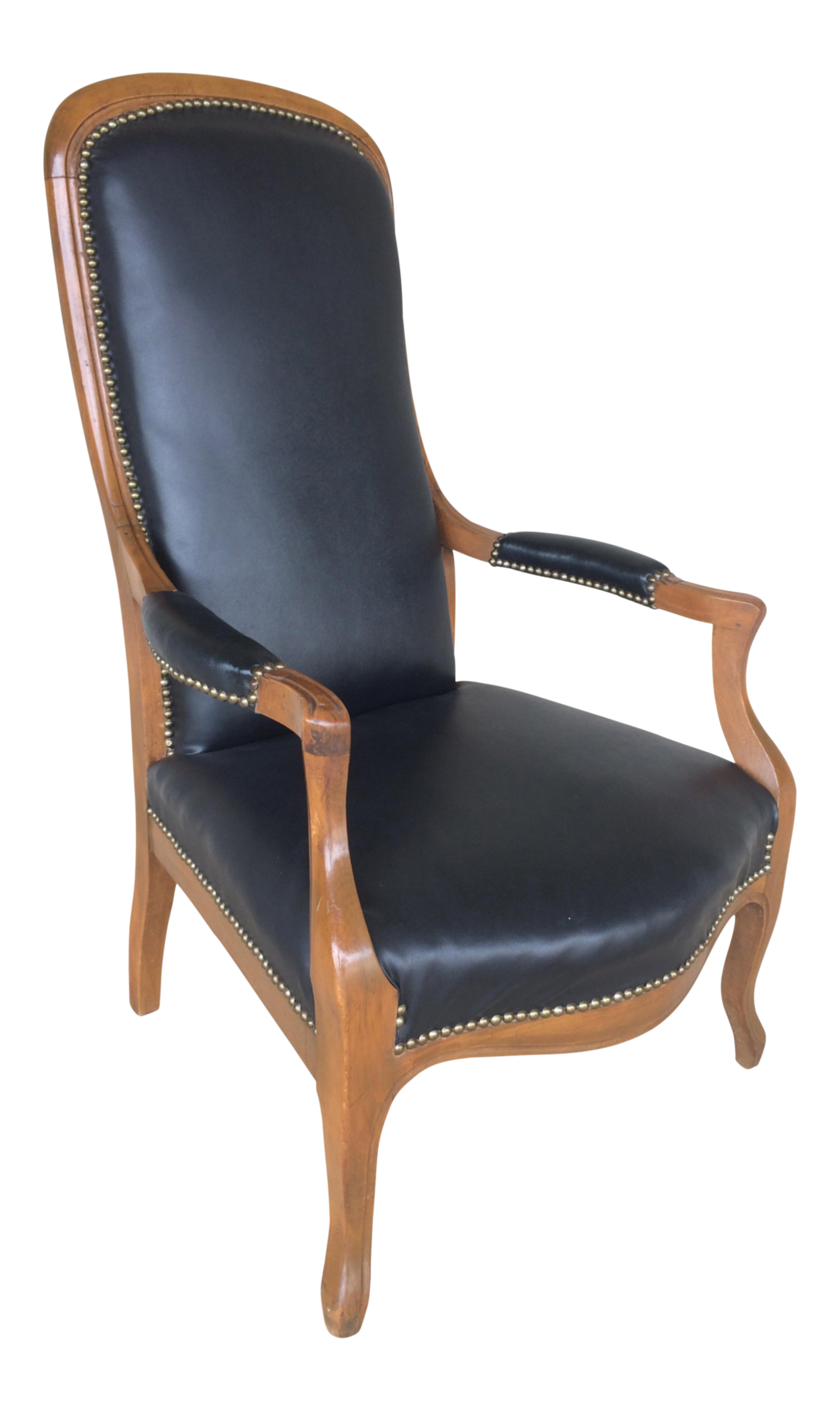 Faux Leather High Back Arm Chair | Chairish