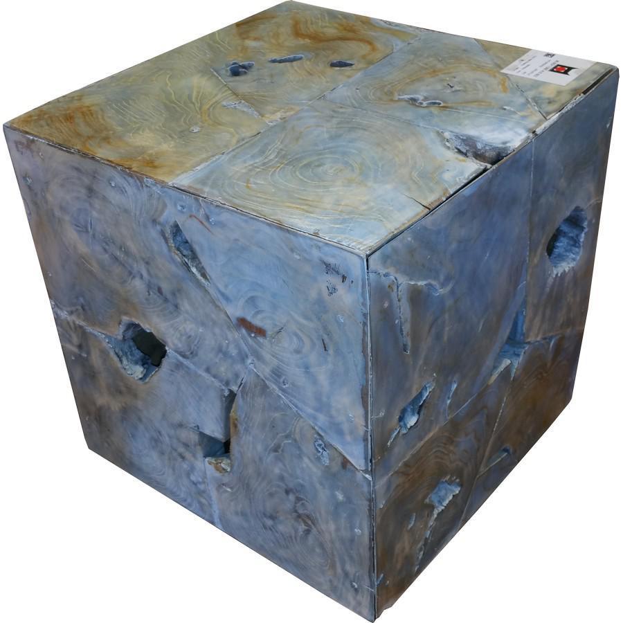 Teak Wood Cube Stool | Chairish
