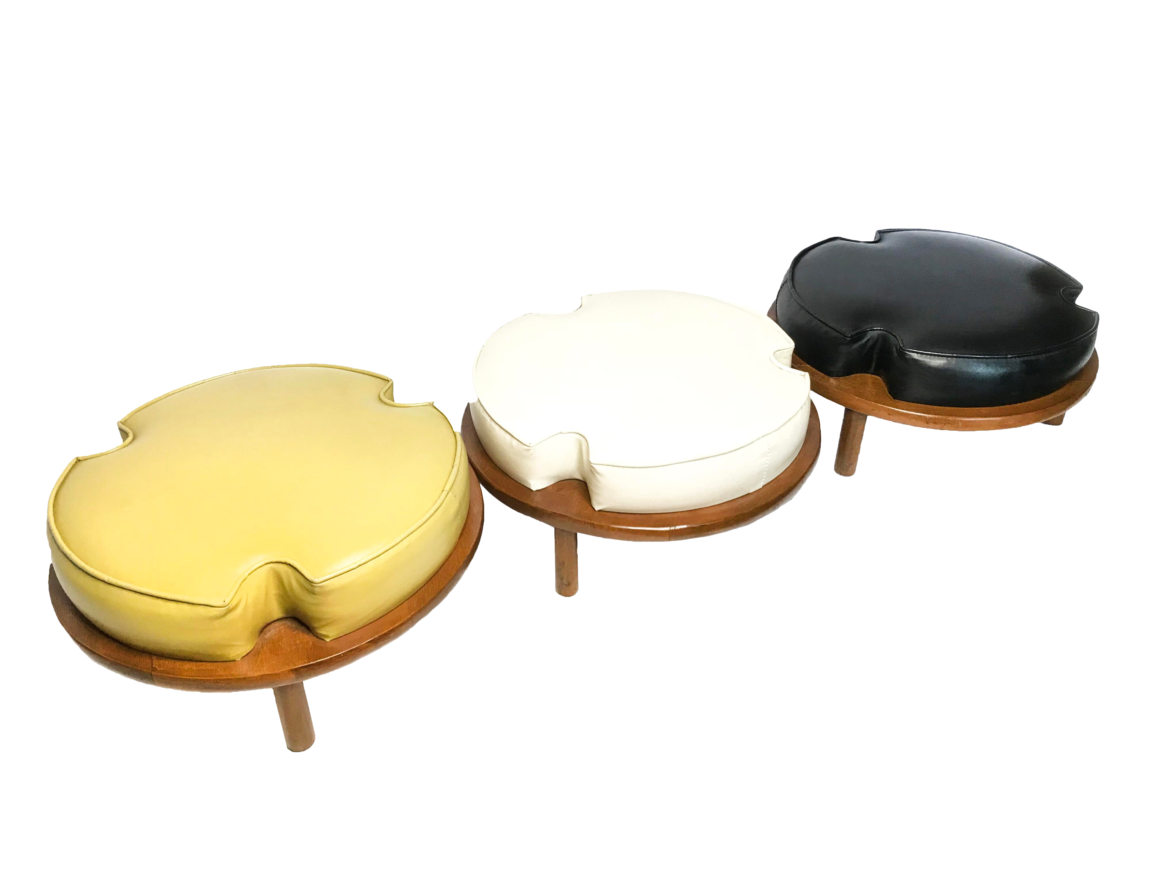 Prime Vintage Mid Century Ethan Allen Round Stackable Stools Ottomans Set Of 3 Gamerscity Chair Design For Home Gamerscityorg