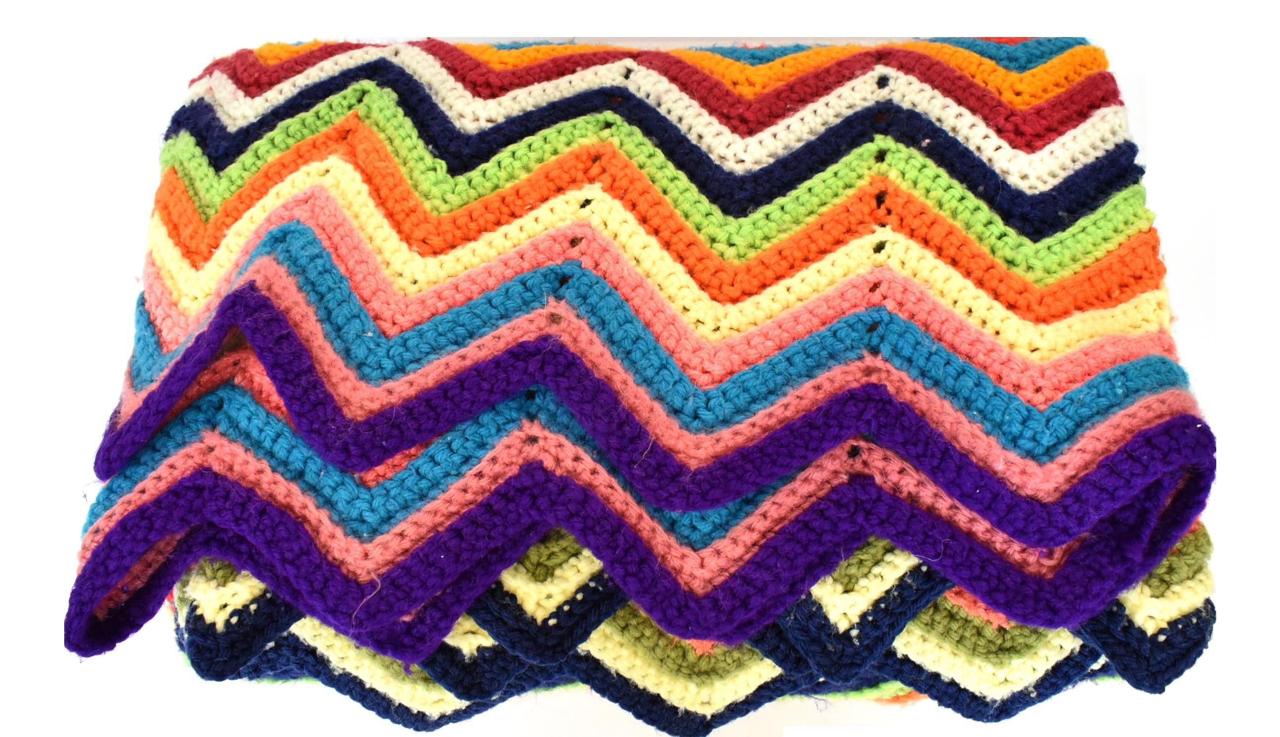 Crotchet Multi-colored Throw Blanket Vintage