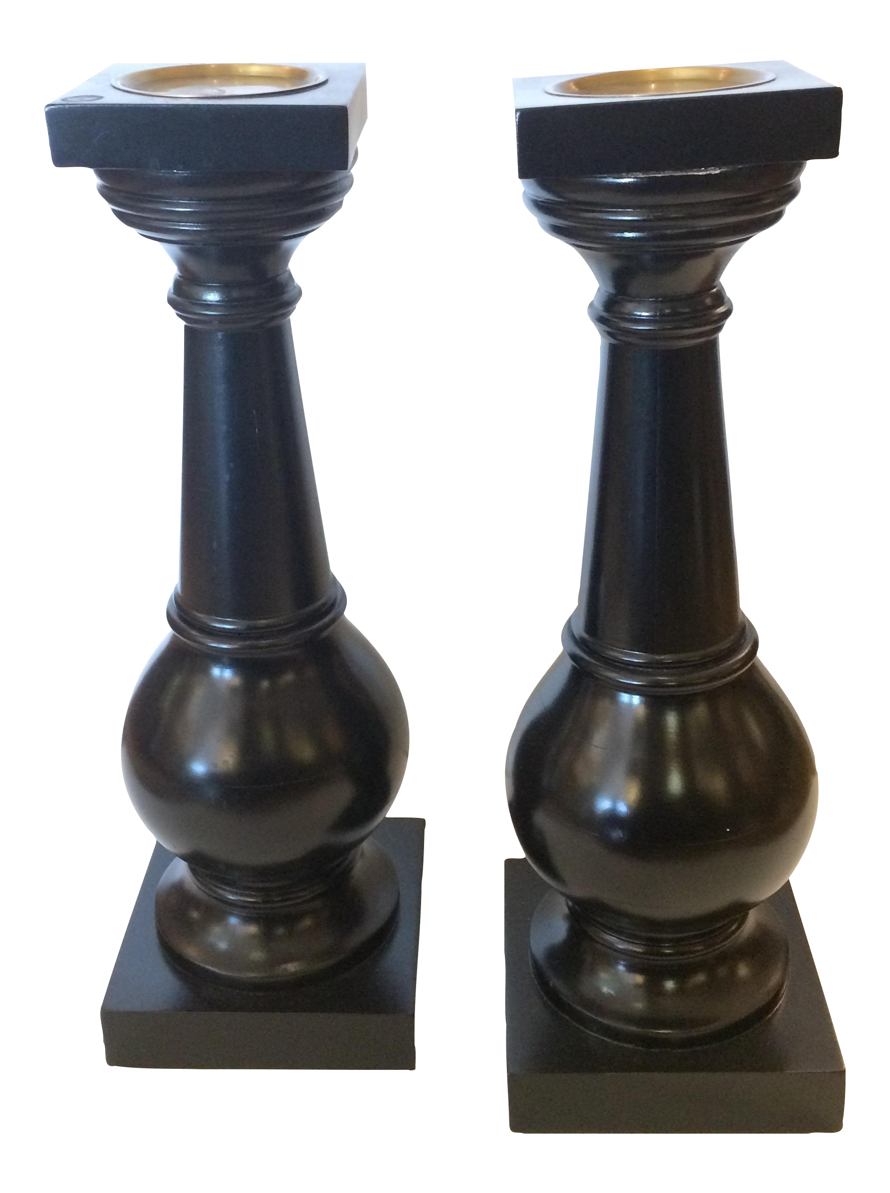 chunky ebonized wooden candle holders a pair chairish With kitchen cabinet trends 2018 combined with chunky wooden candle holders