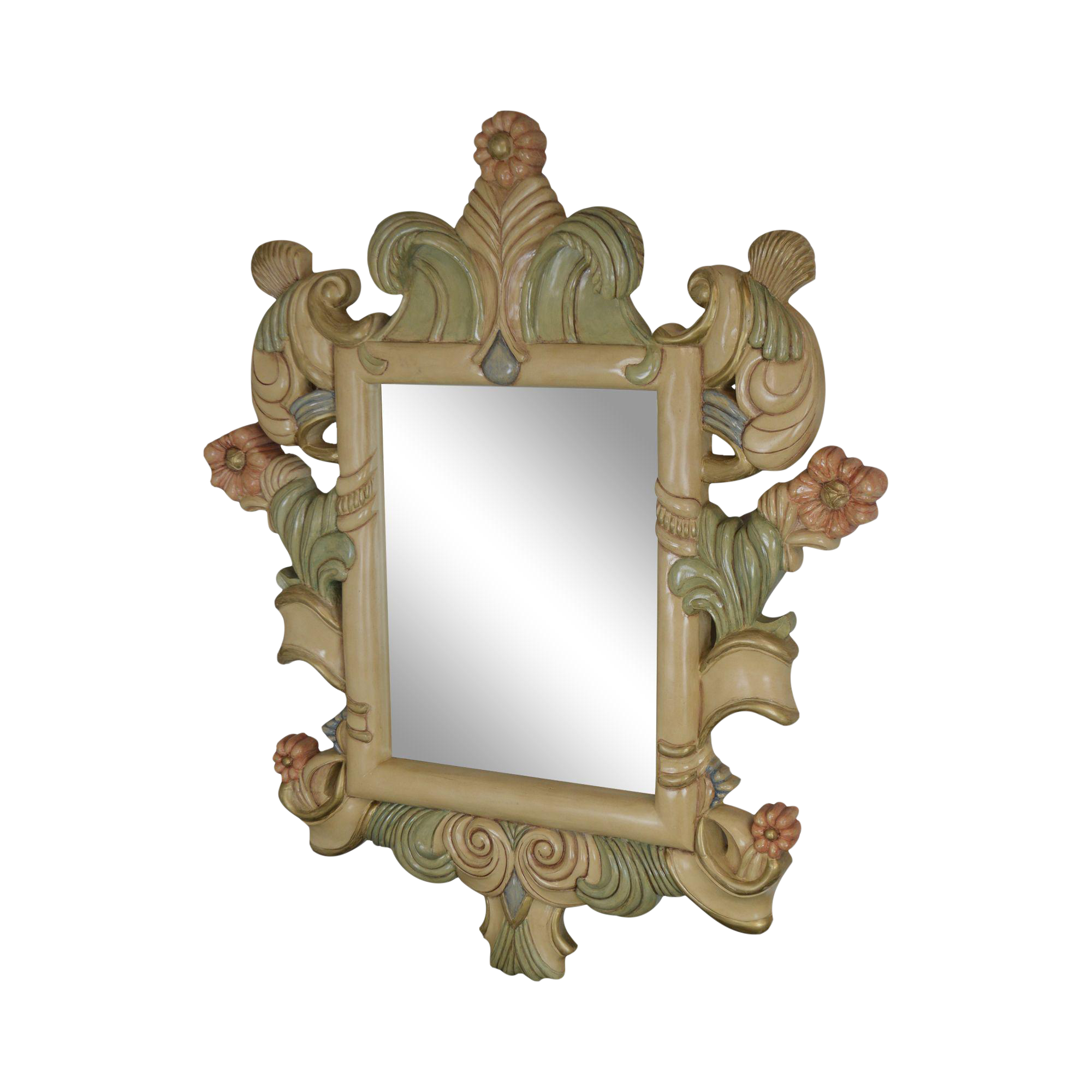 Quality Hand Painted Large Carved Wood Frame Beveled Wall Mirror Chairish