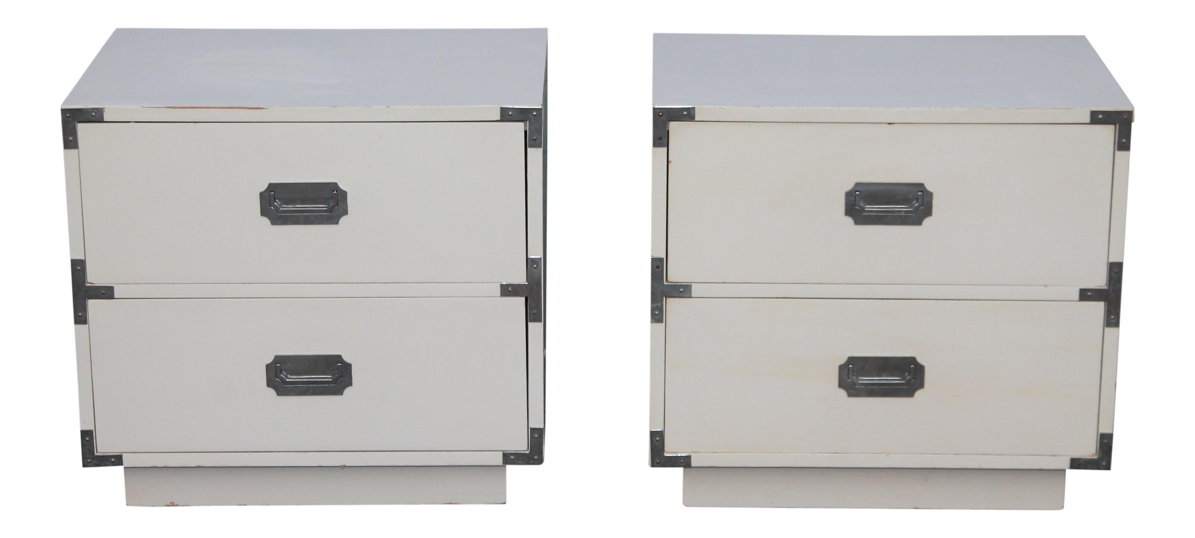 midcentury white lacquer and chrome campaign nightstands a pair  chairish. midcentury white lacquer and chrome campaign nightstands a pair