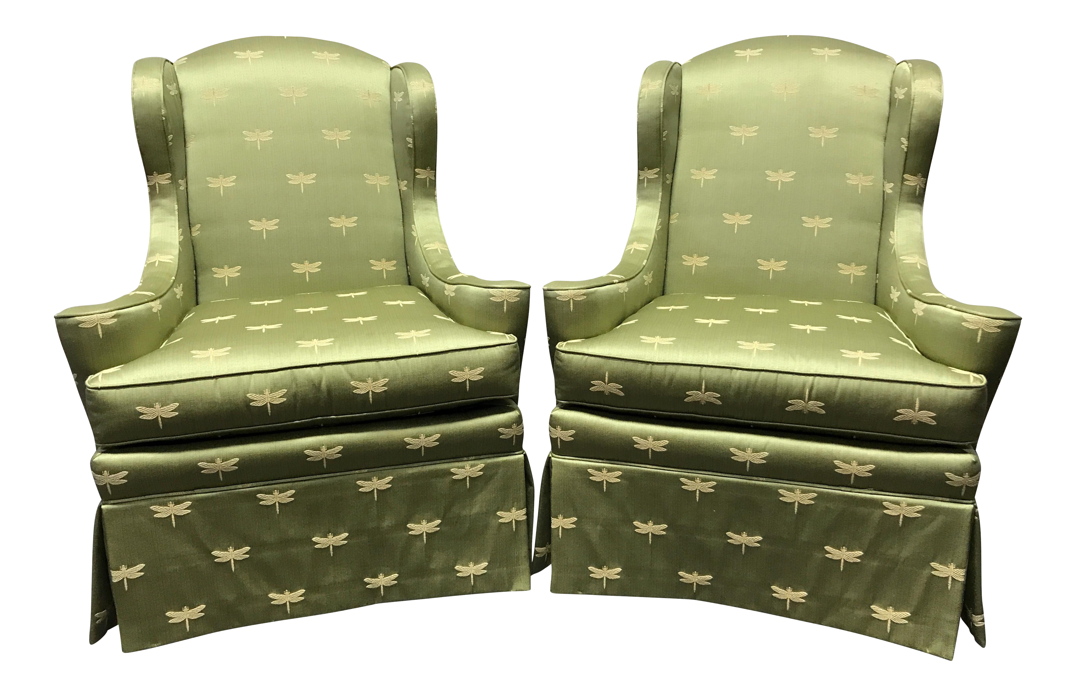 Sherrill of Hickory Wing Chairs with Green Dragonfly Upholstery - A ...
