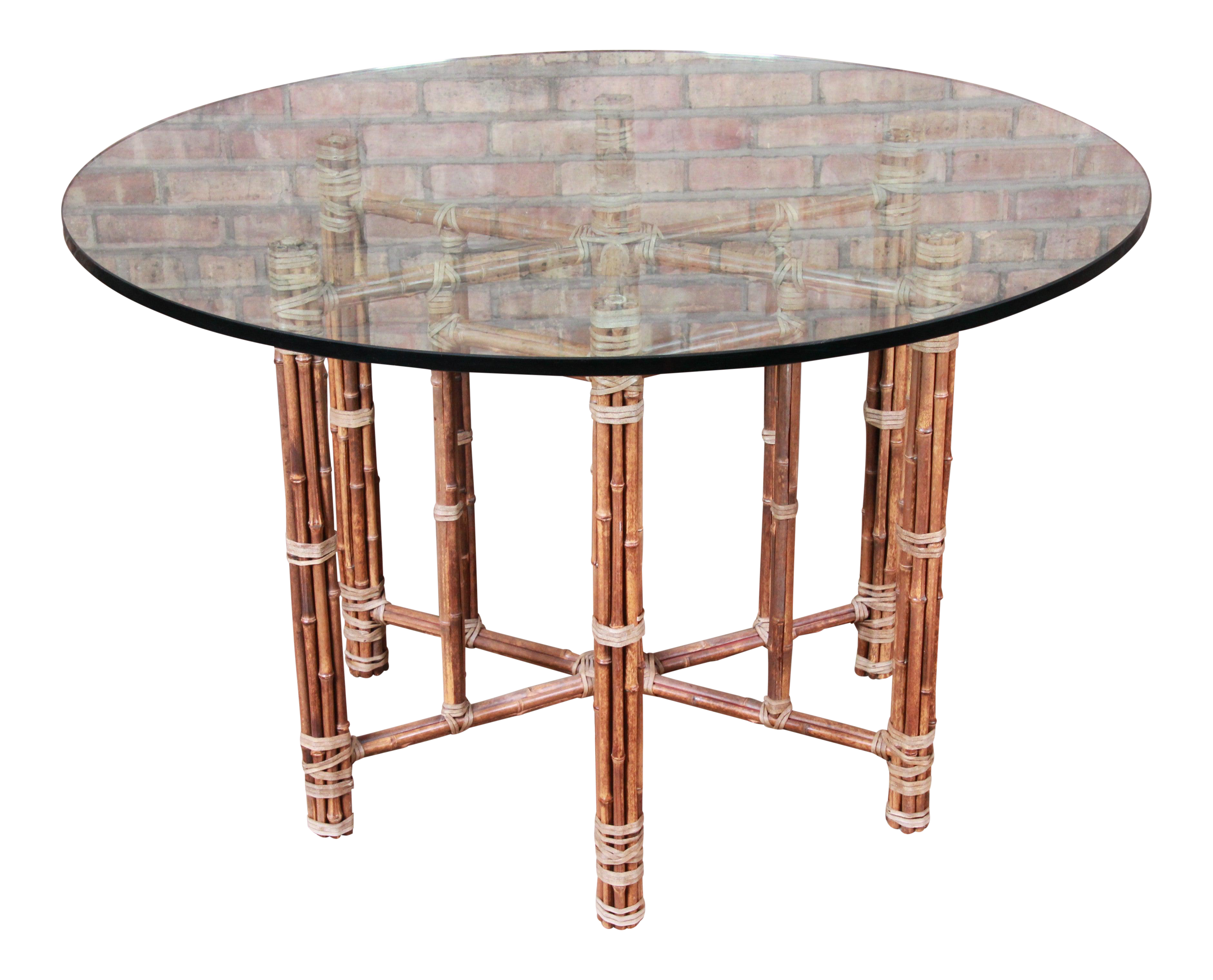 Picture of: Mcguire Organic Modern Bamboo Rattan And Leather Glass Top Dining Table Chairish