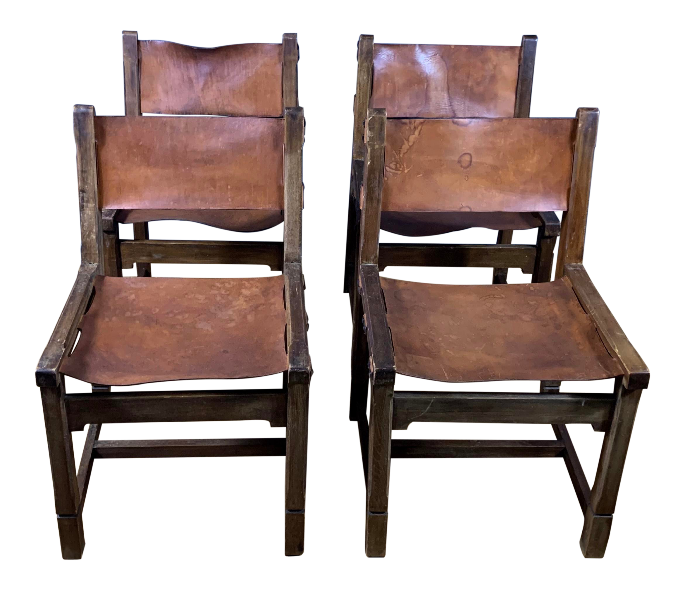 Incredible 1940S Vintage French Saddle Leather Oak Dining Chairs Set Of 4 Ibusinesslaw Wood Chair Design Ideas Ibusinesslaworg