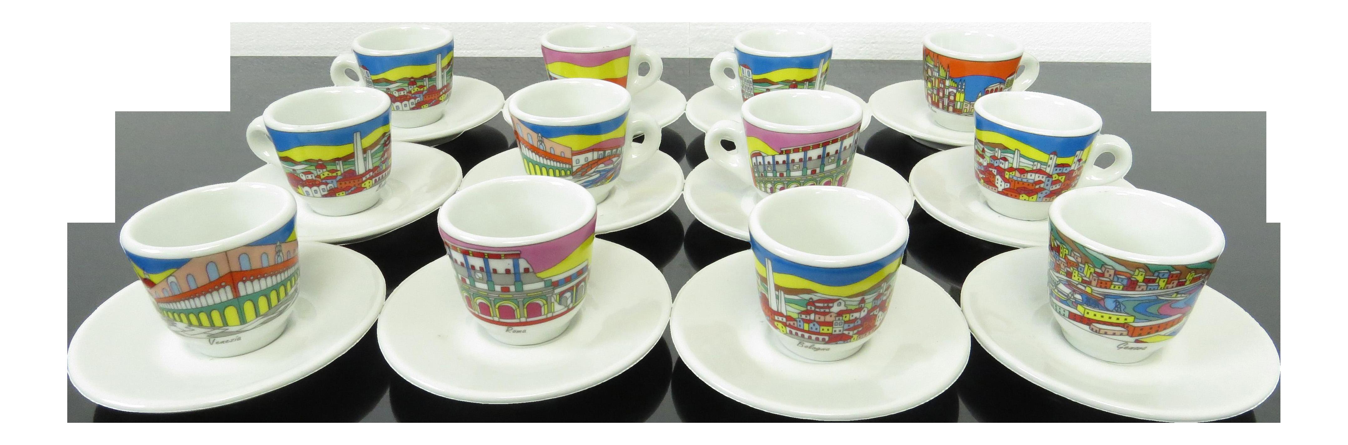 fd9262674 Vintage Nuova Point Italy City Scenes Espresso Demitasse Cups   Saucers -  Set of 12