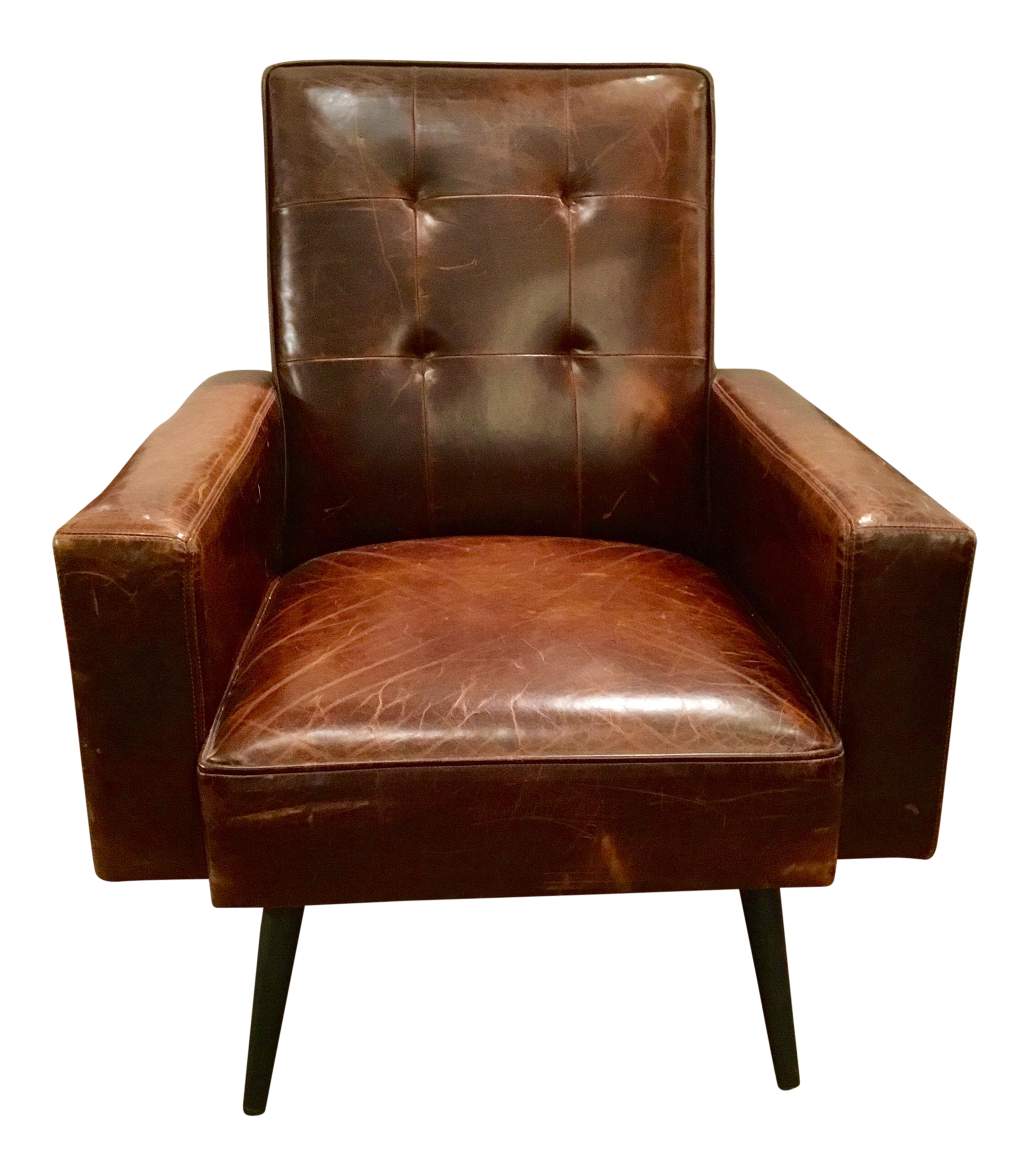 Phenomenal Brown Mid Century Style Distressed Leather Chair Camellatalisay Diy Chair Ideas Camellatalisaycom