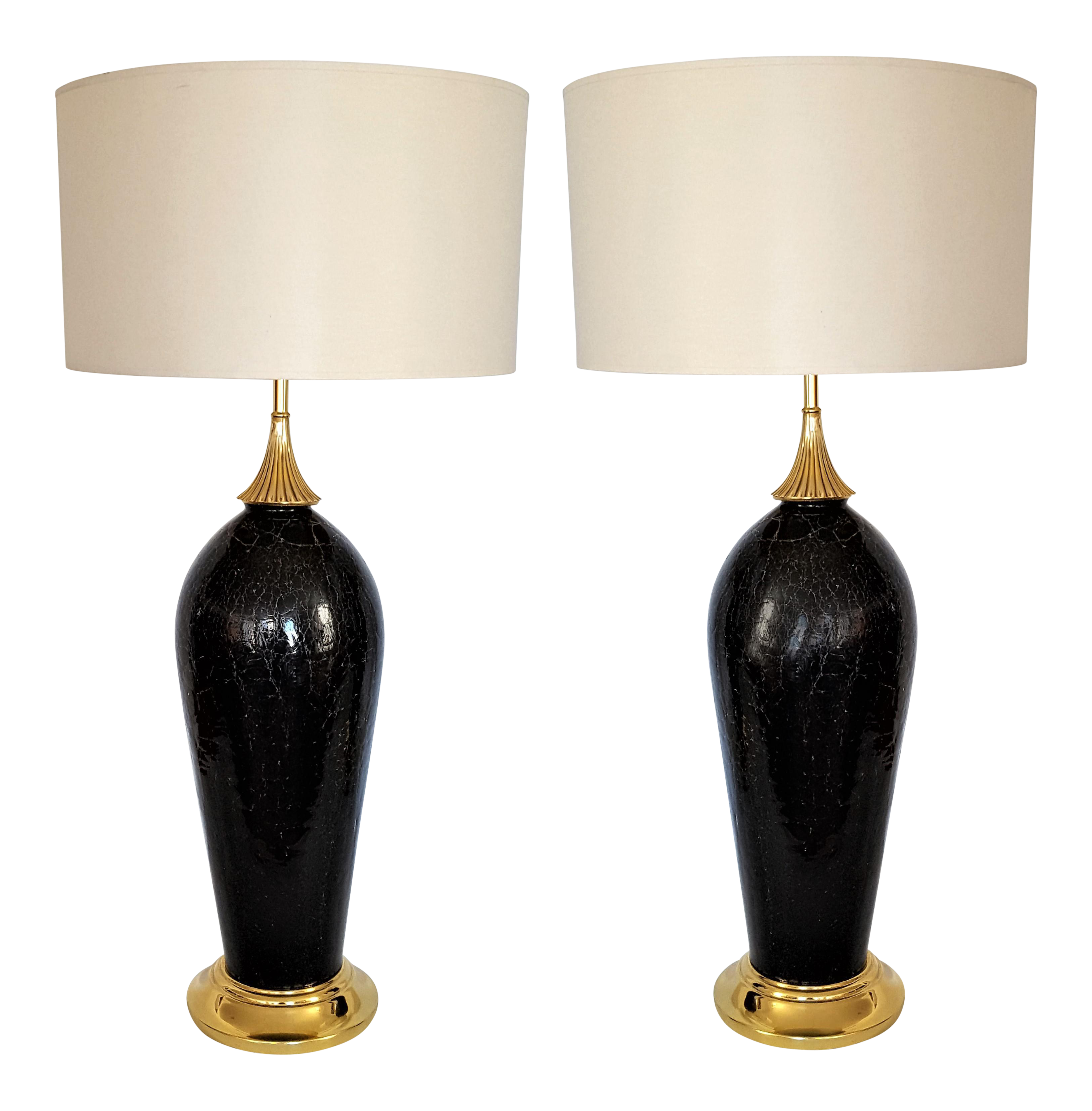 Vintage used table lamps chairish antique black crackle murano glass italian table lamps a pair aloadofball Gallery