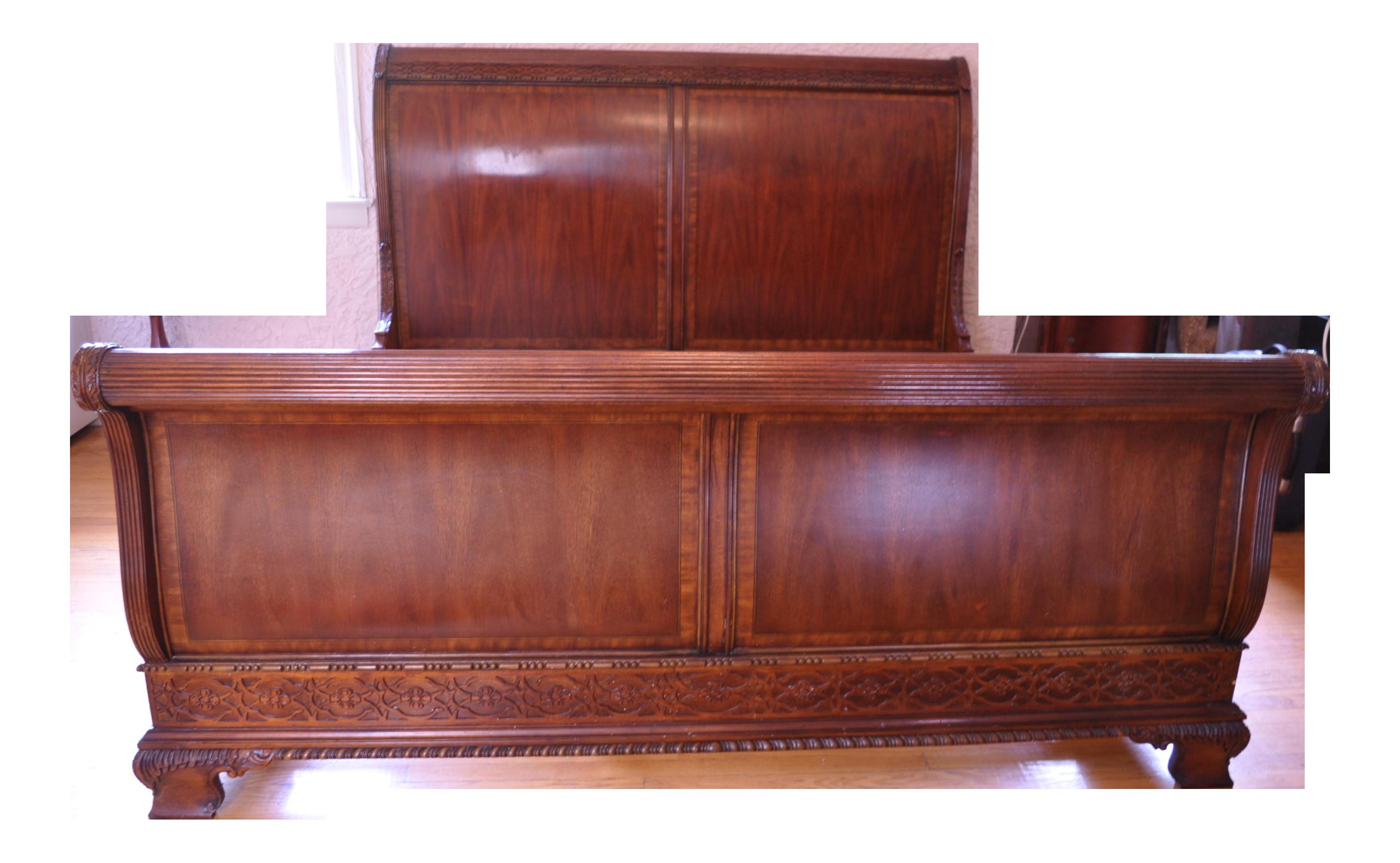 - 1970s Traditional King Sleigh Bedframe Chairish