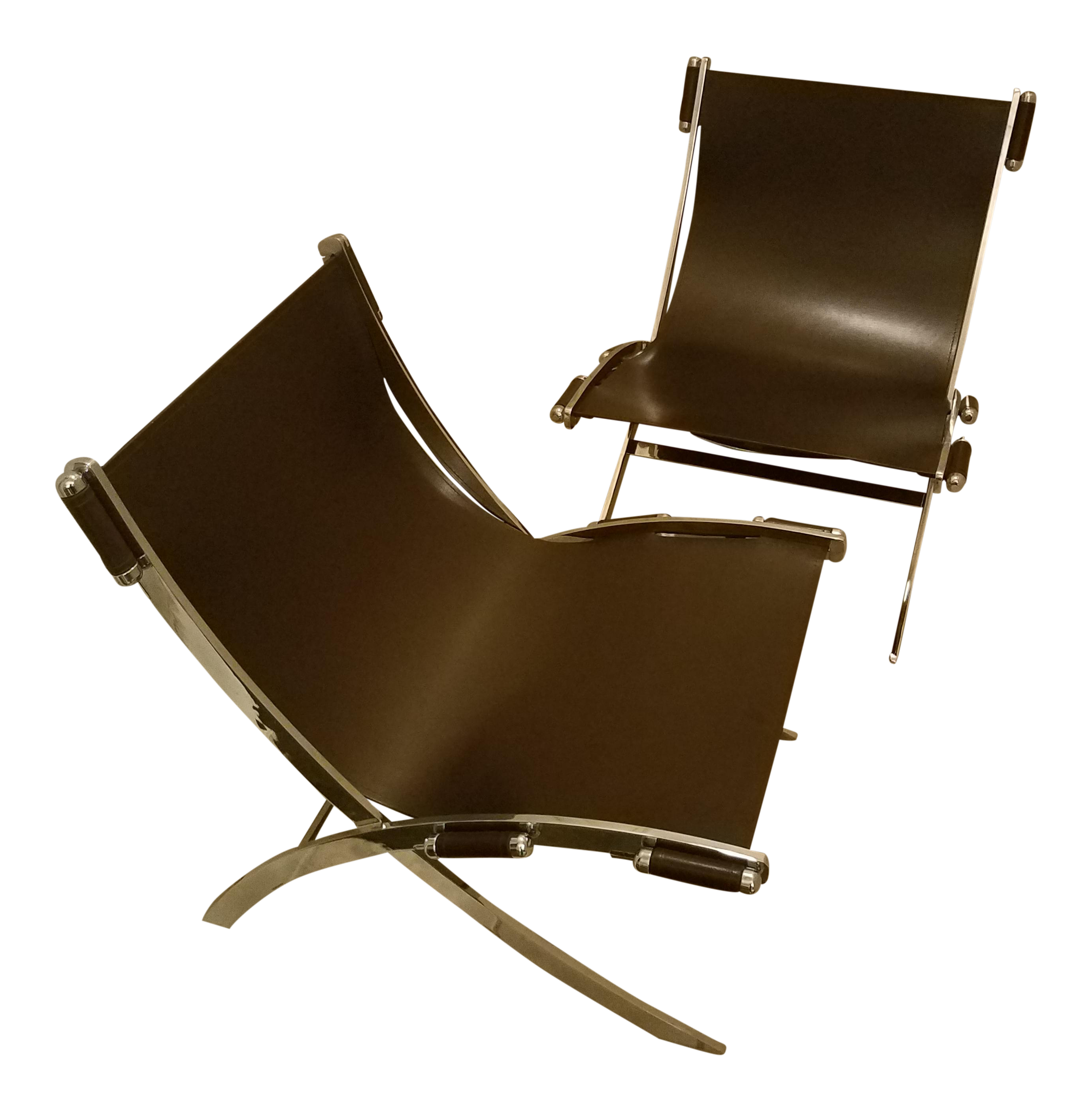 Mid century modern style leather sling chrome chairs a pair chairish