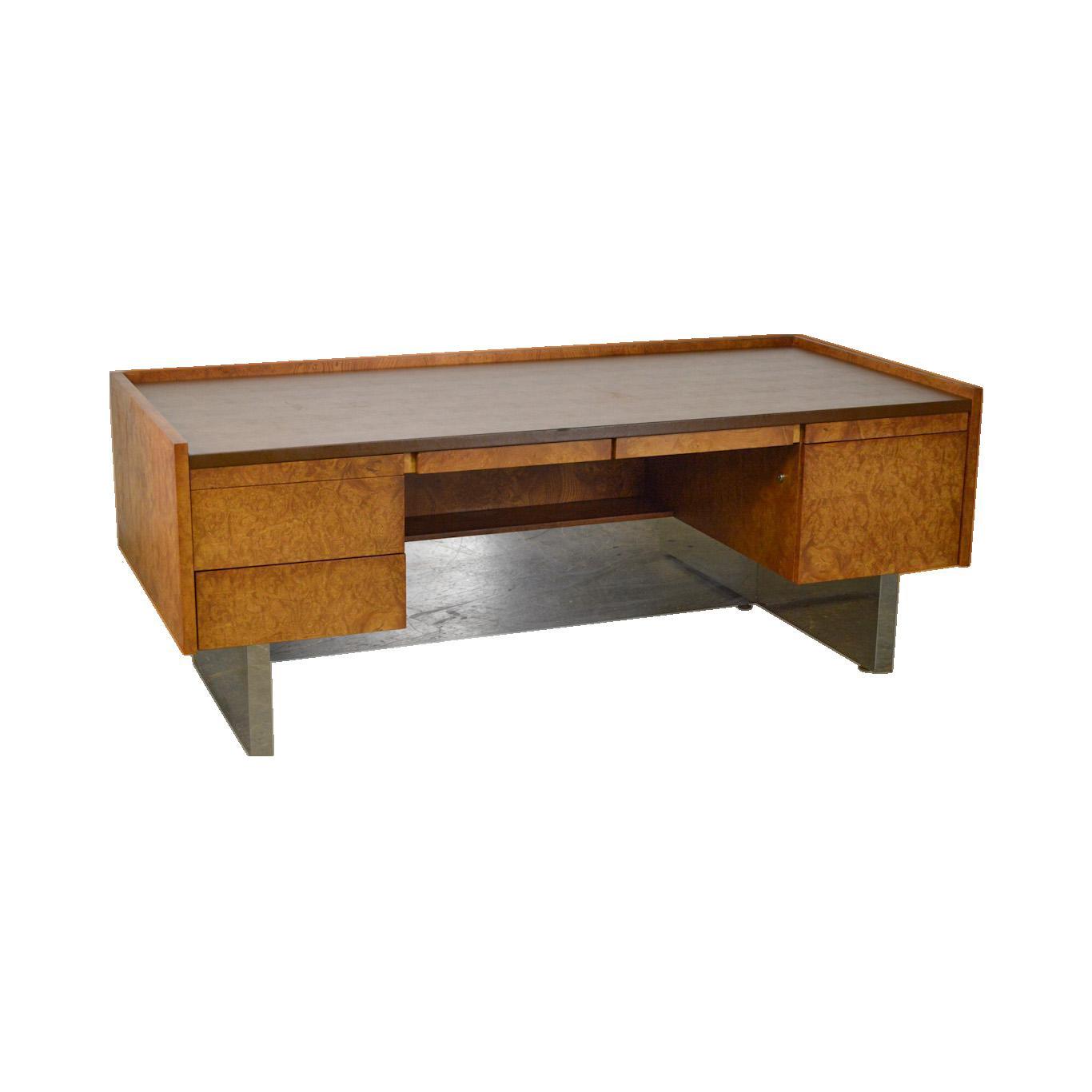 Milo Baughman Style Mid Century Modern Burl Wood Chrome Large Executive Desk Chairish