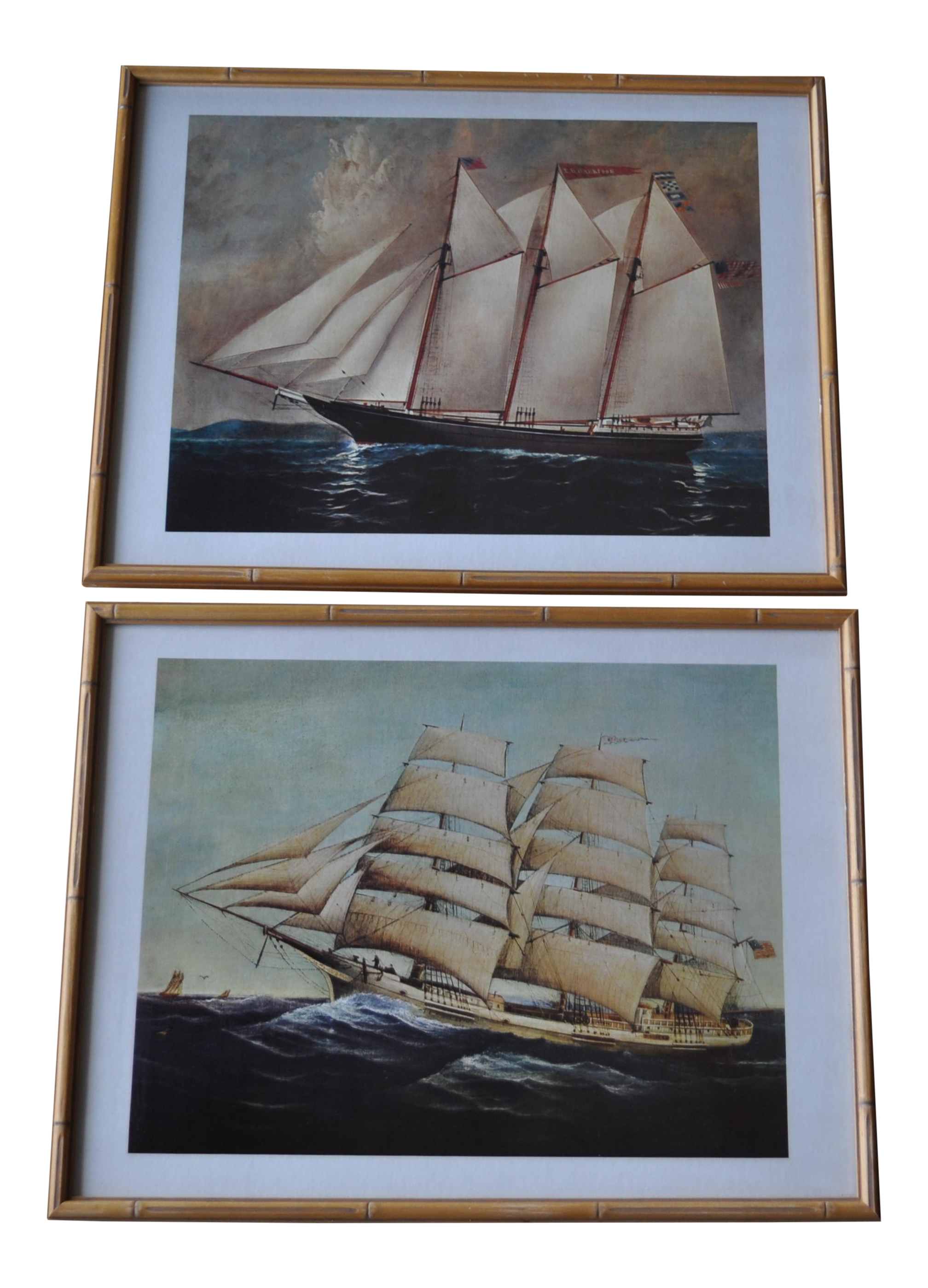 Vintage nautical ship prints in bamboo frames a pair chairish jeuxipadfo Image collections