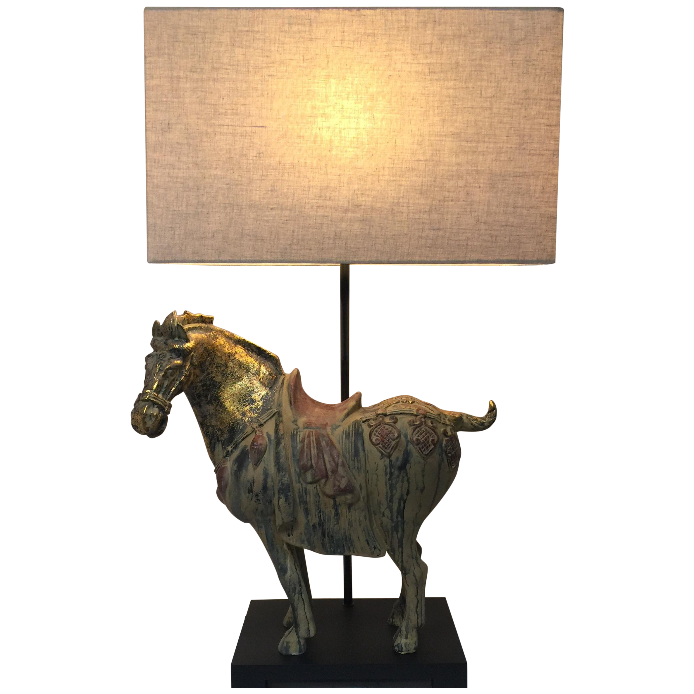 Asian ming horse table lamp chairish aloadofball Image collections