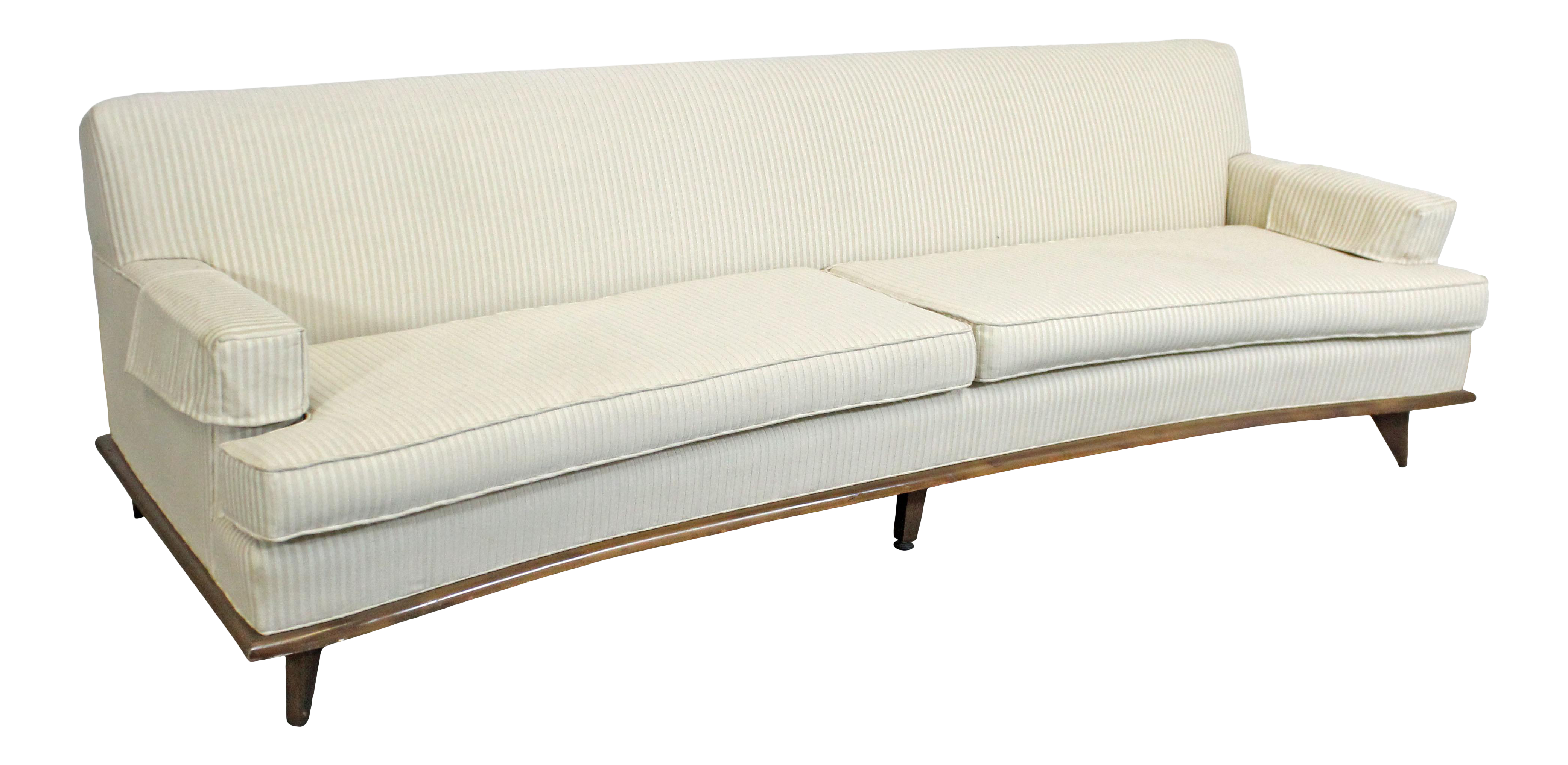 Mid Century Danish Modern Concave Front White Sofa On Wood Base