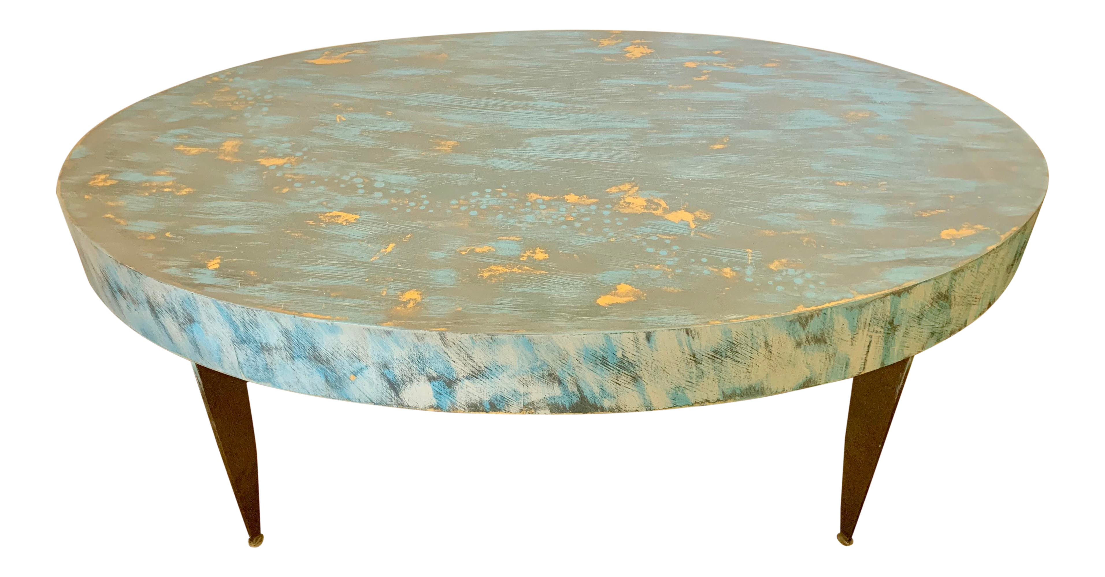 Painted Distressed Blue Oval Coffee Table Chairish