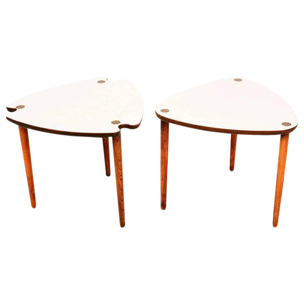 High End Mid Century Modern Triangular Nesting Tables | DECASO