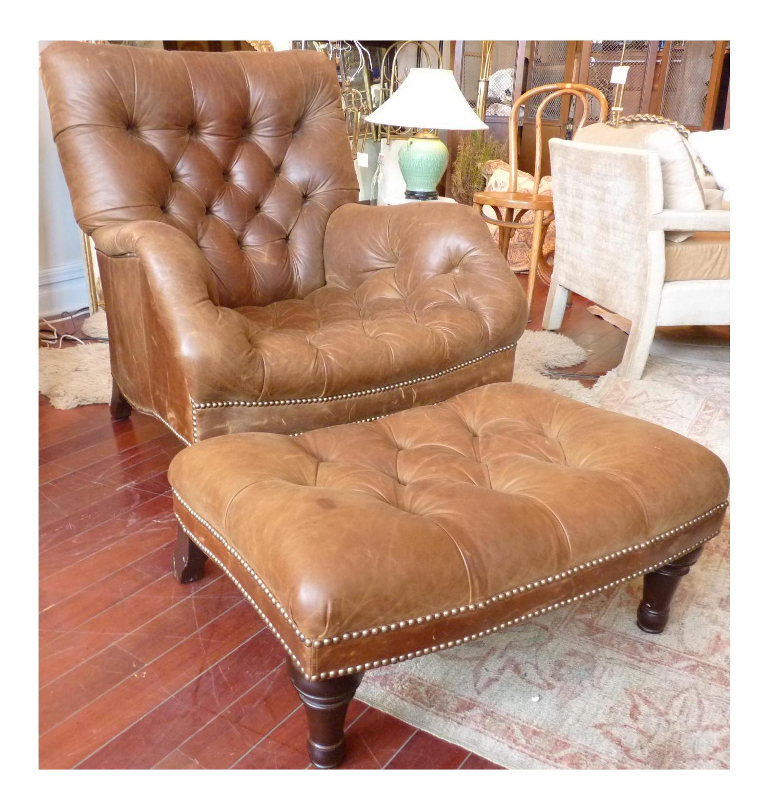 Sensational Cognac Leather Sleepy Hollow Chair And Ottoman Creativecarmelina Interior Chair Design Creativecarmelinacom