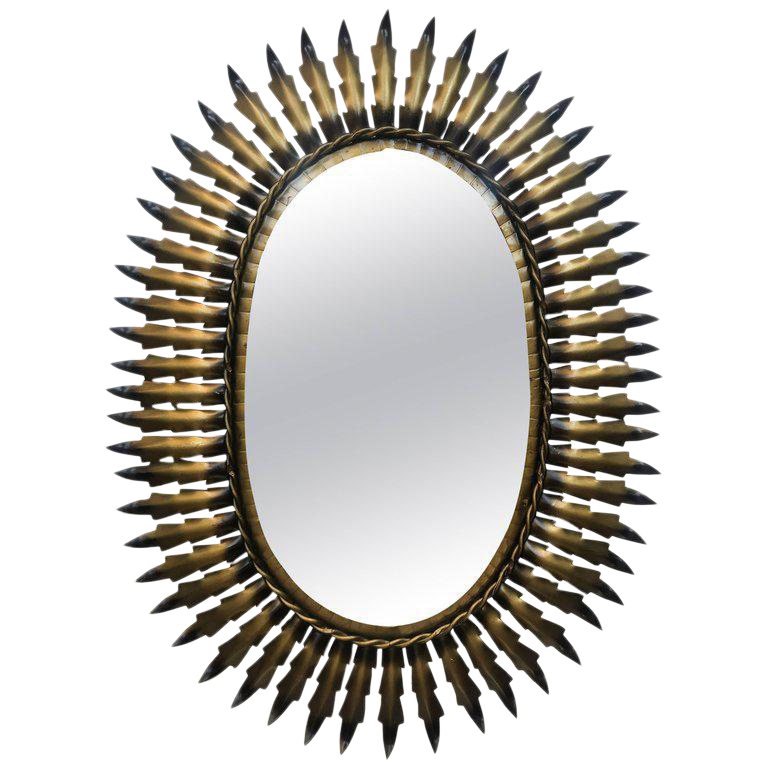 Spanish Gilt Metal Oval Sunburst Mirror