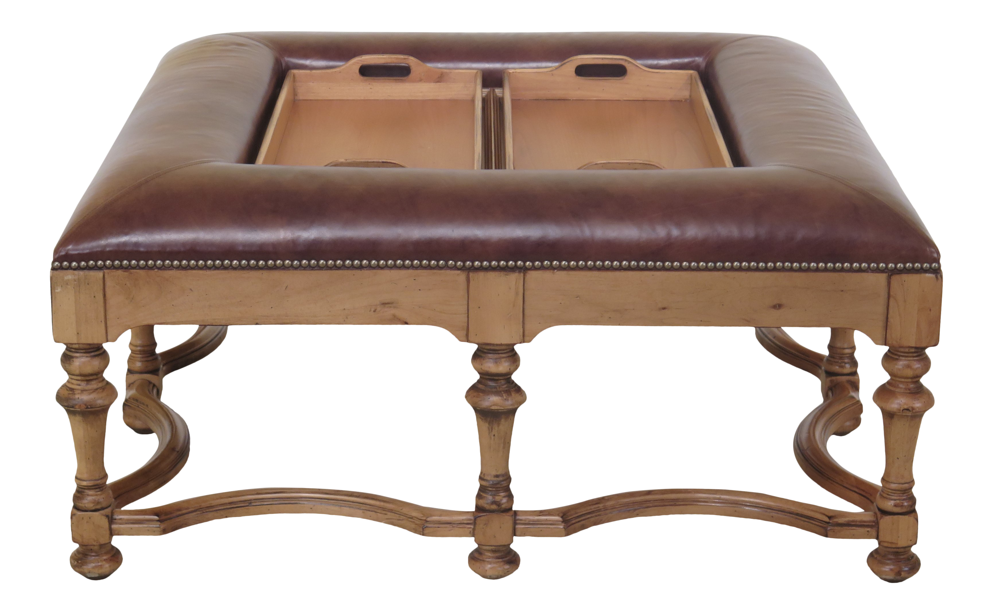 - Traditional Square Leather Top Coffee Cocktail Table With Trays