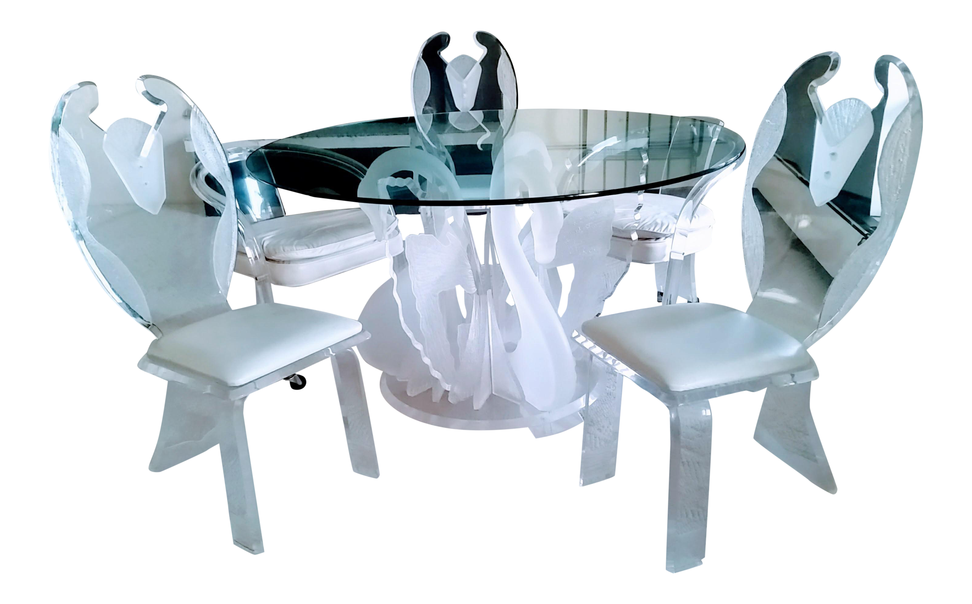 Vintage Lucite Swan Dining Table & 3 Tuxedo Chairs - No Glass Top ...