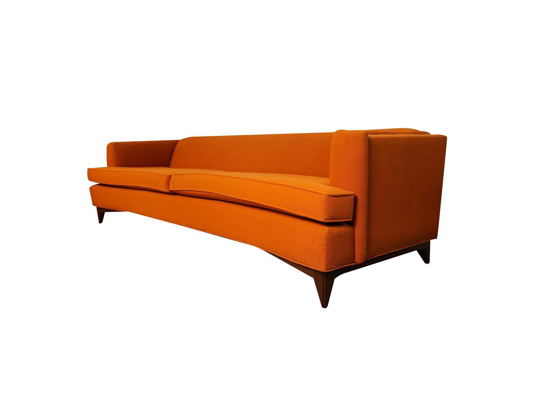 Mid Century Modern Orange Upholstered Curved Sofa | Chairish