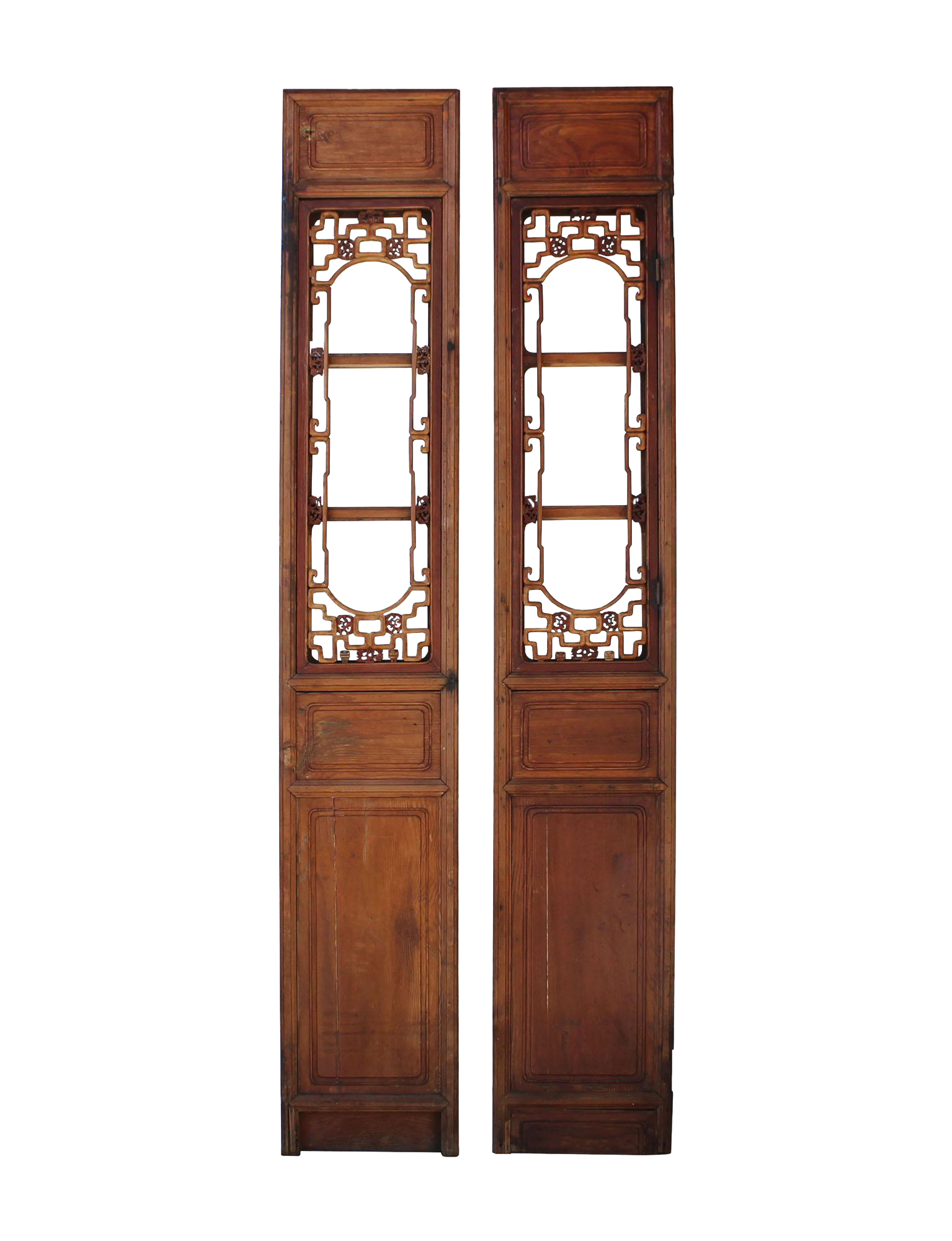 Vintage Chinese Window Opening Tall Wood Panel Screens  A