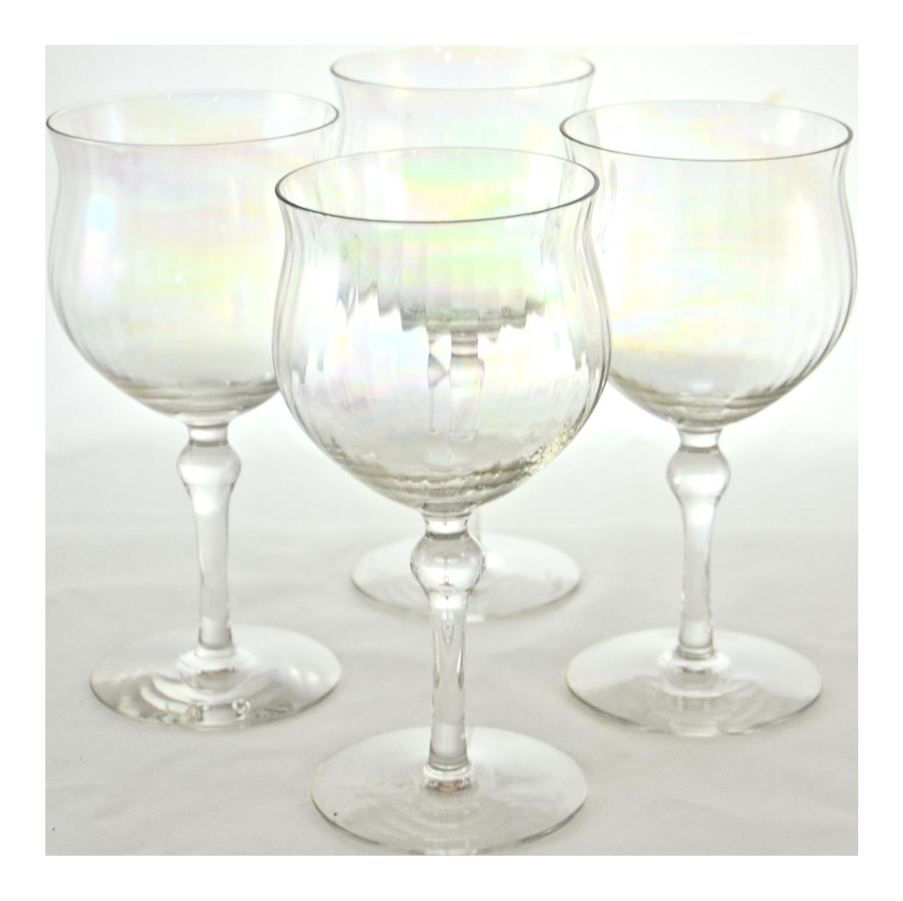 Iridescent Optic Crystal Stemmed Wine Glasses Set Of 4