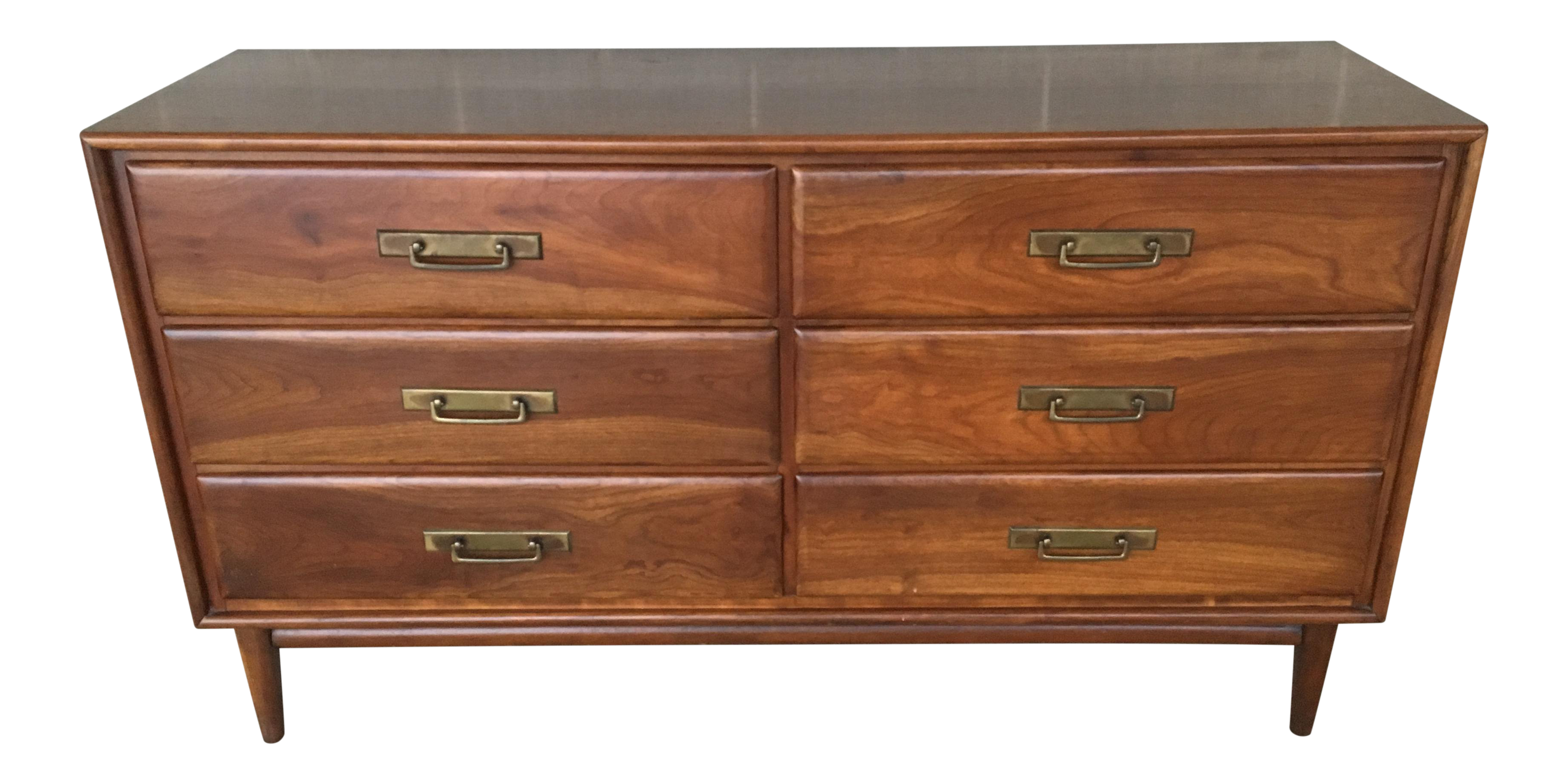 1950s mid century modern heywood wakefield cliff house collection solid cherry 6 drawer double dresser chairish