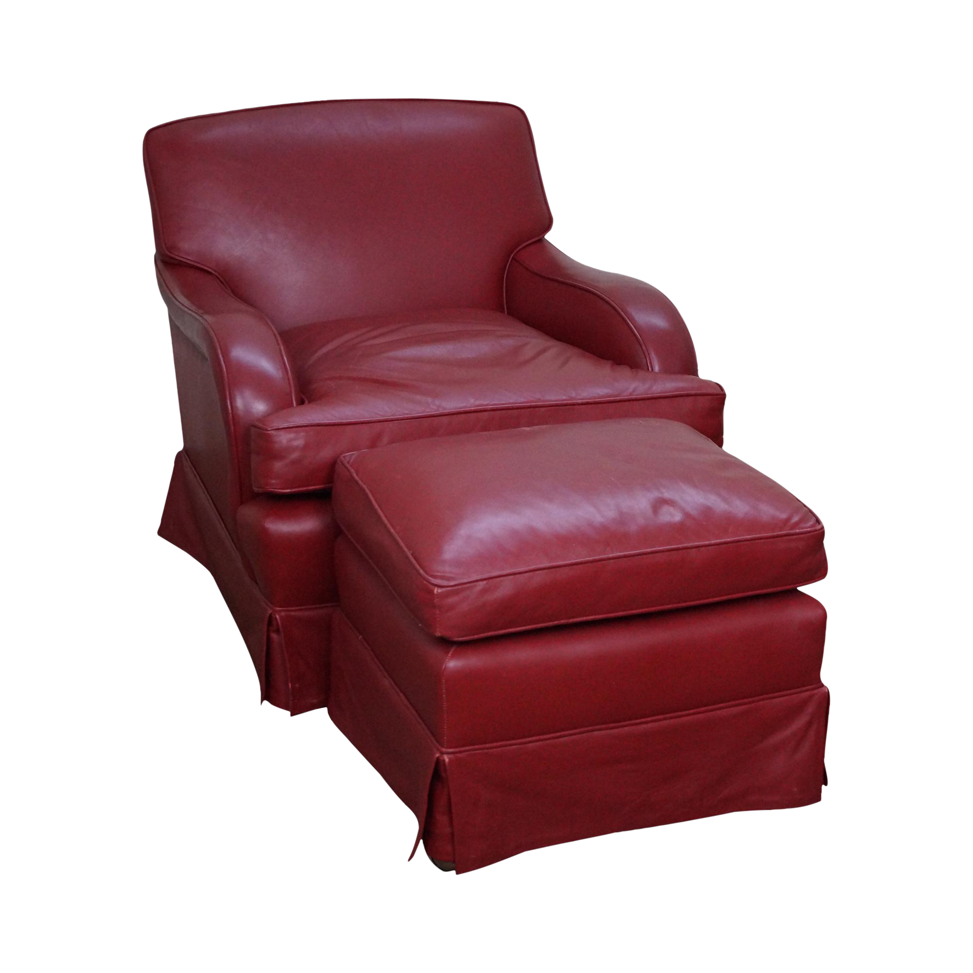 martin industries red leather lounge chair w  ottoman