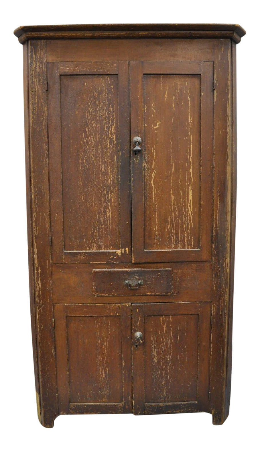 Antique primitive rustic brown distressed painted corner cupboard chairish