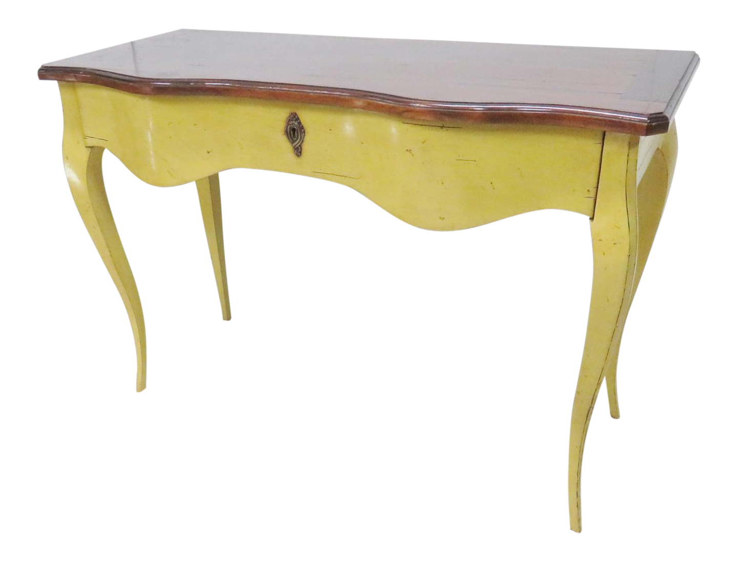 French mahogany yellow console table chairish for Sofa table yellow