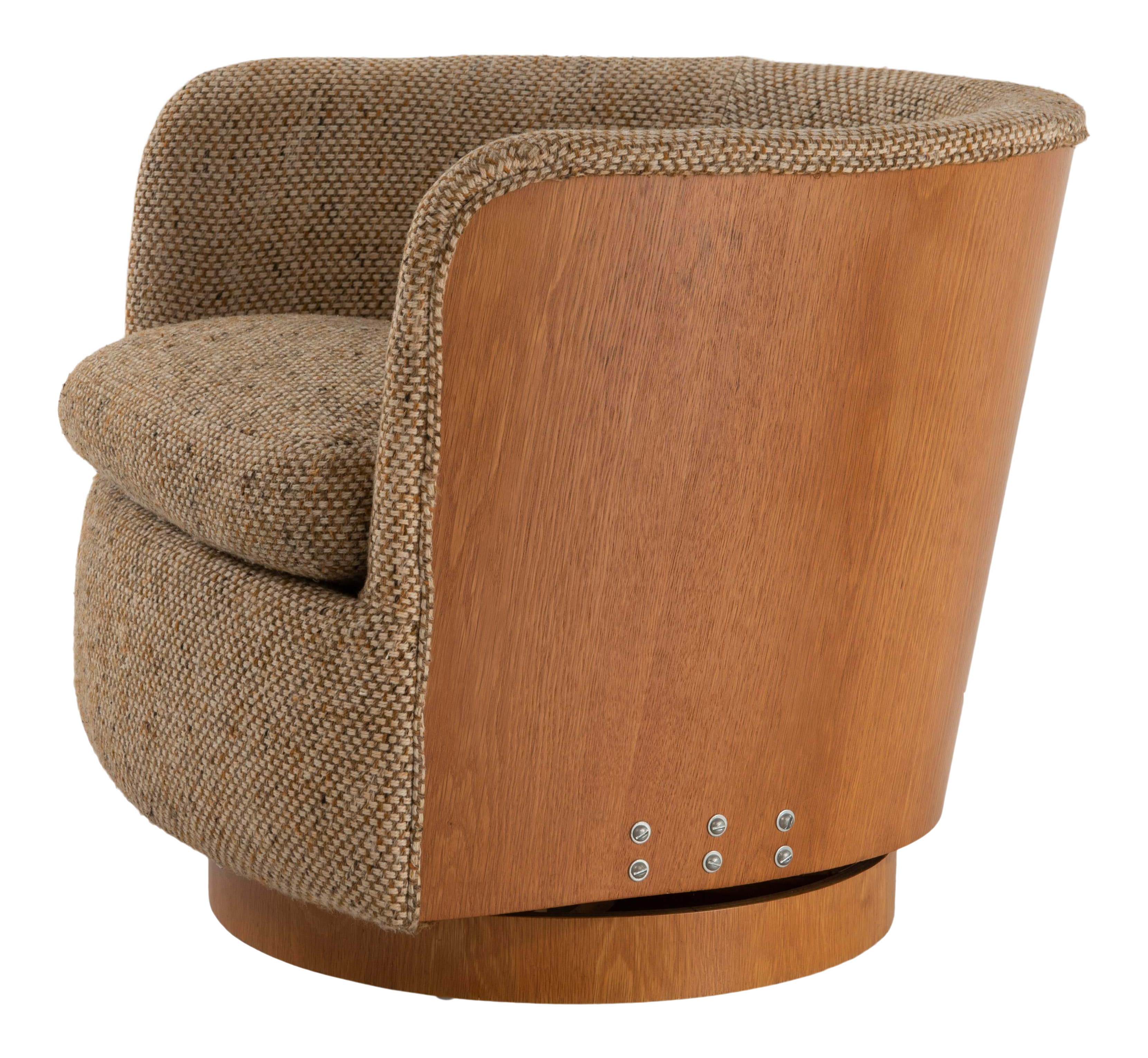 Image of: Mid Century Modern Oak Back Swivel Barrel Tub Chair Style Of Milo Baughman Chairish
