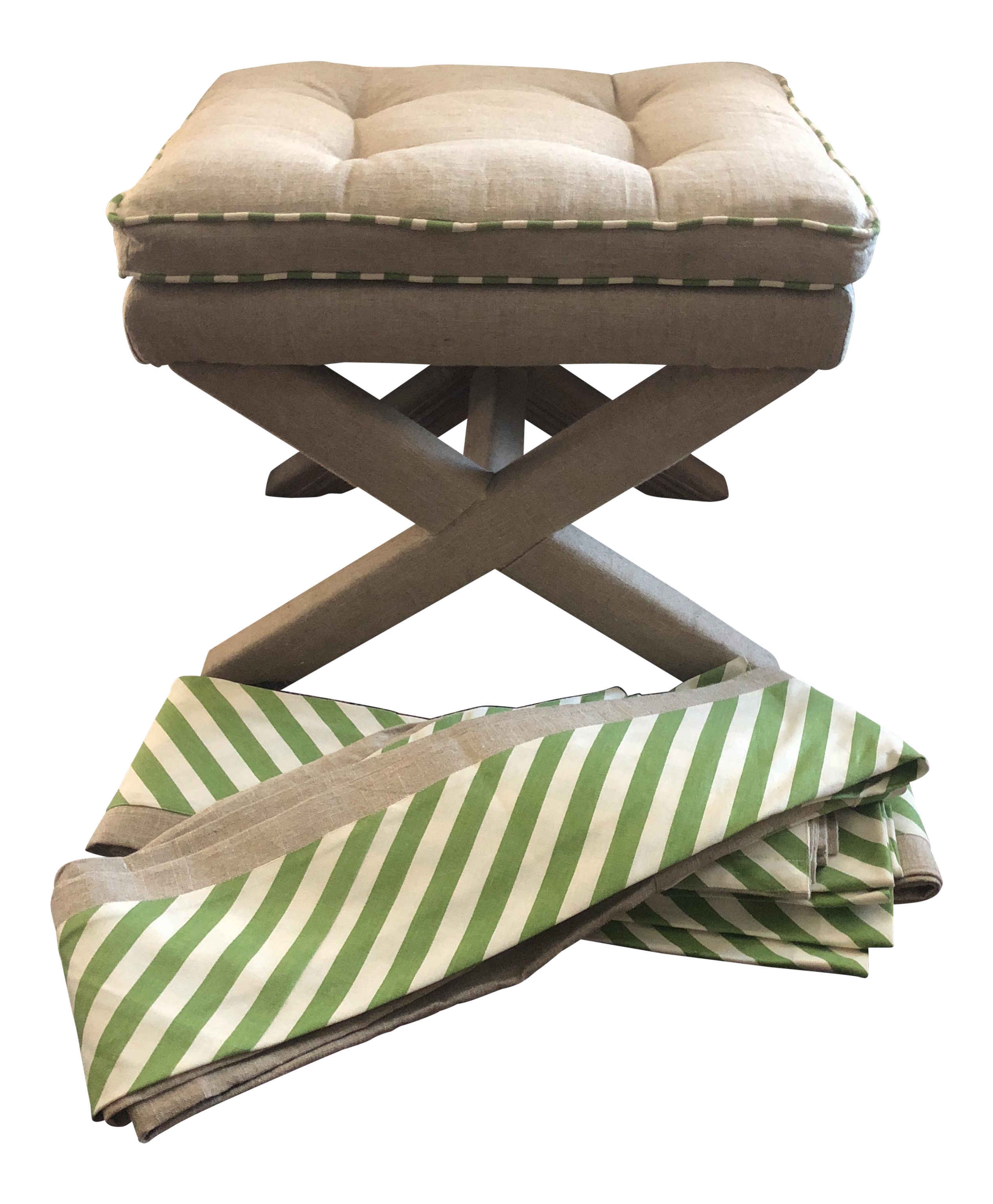 X Base Stool And Matching Pair Of Curtains With Extra Fabric