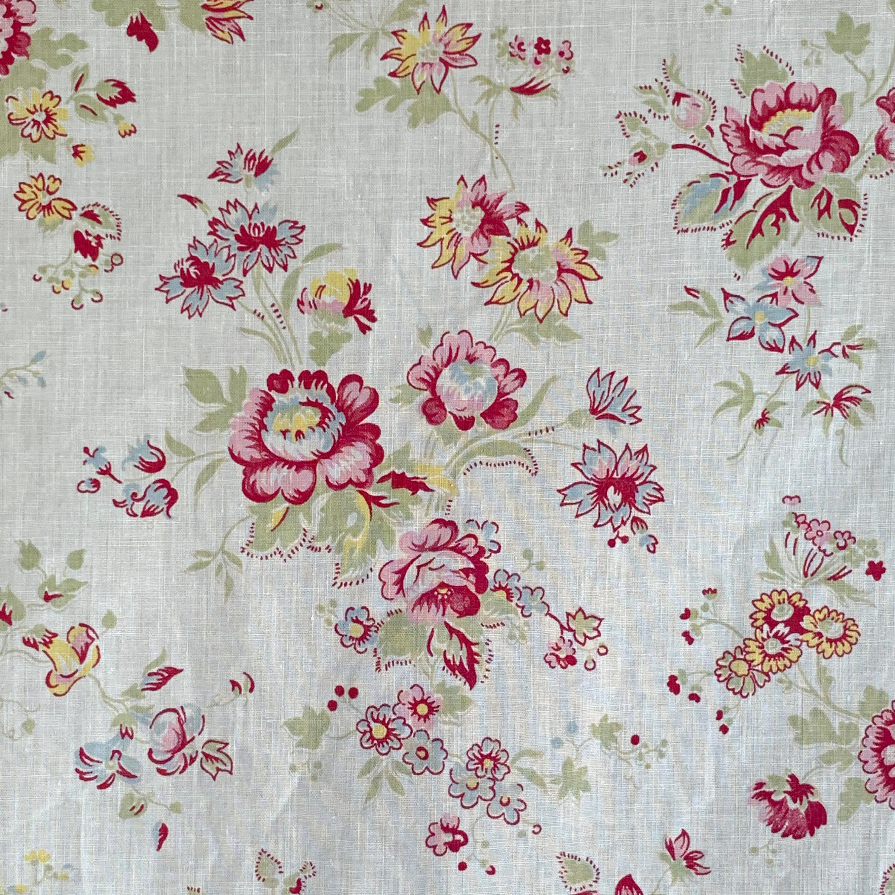 9974 Beautiful 1930/'s French Monotone Cotton Floral Fabric
