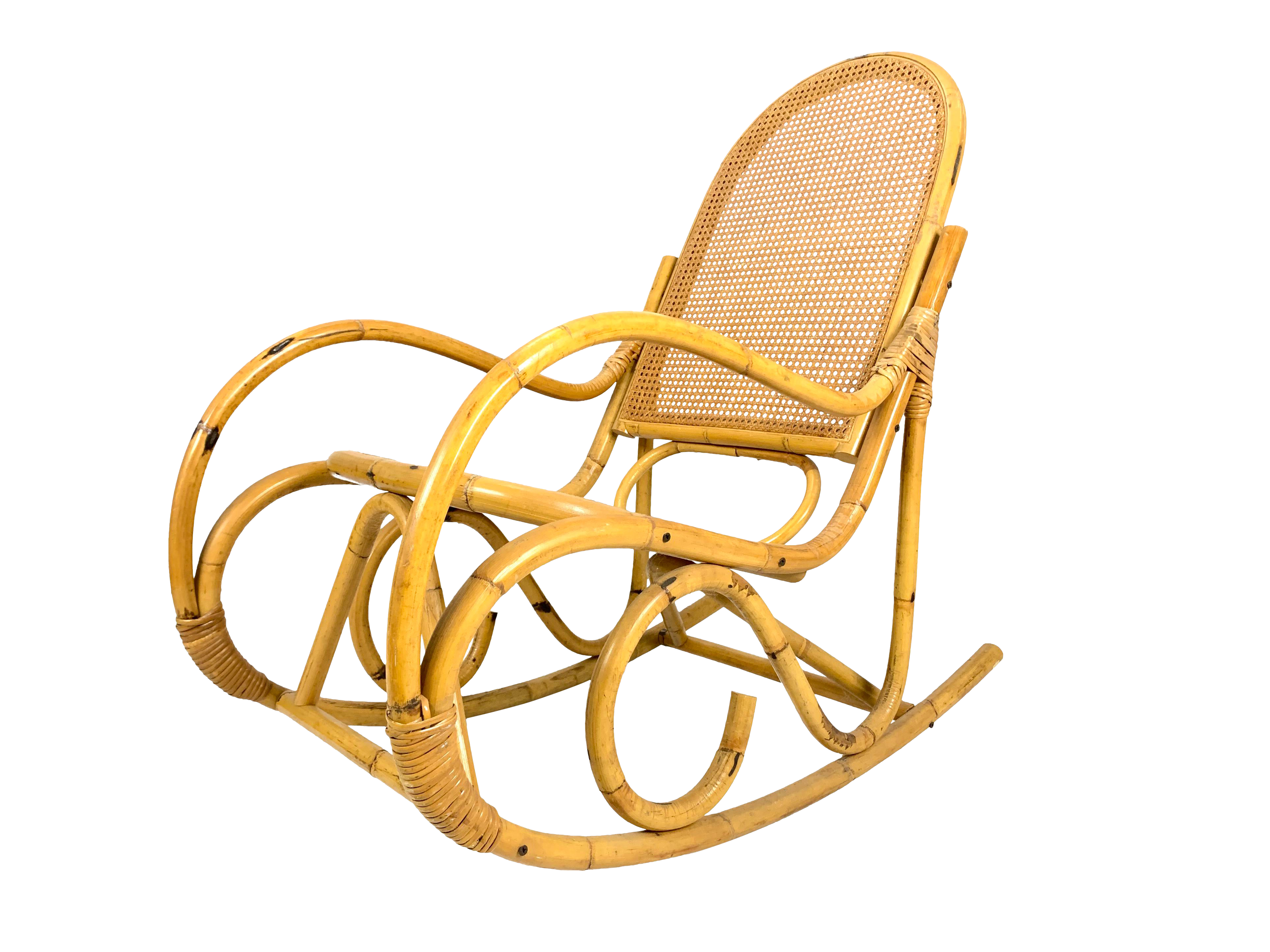 Remarkable Vintage 1960S Mid Century Boho Chic Rattan Cane Rocking Chair Gmtry Best Dining Table And Chair Ideas Images Gmtryco