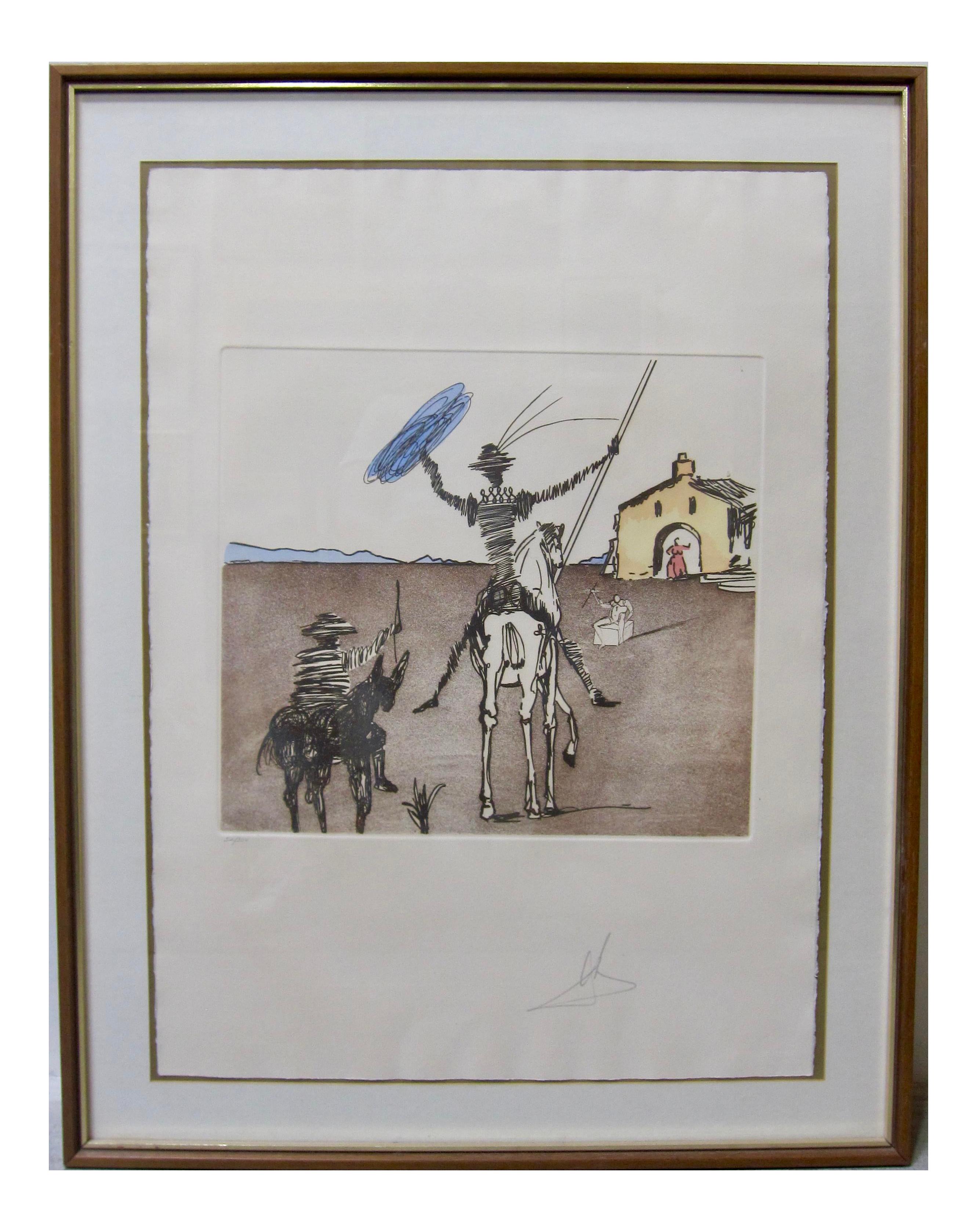 Salvador Dali Don Quixote Signed Original Etching Aquatint The Impossible Dream Chairish