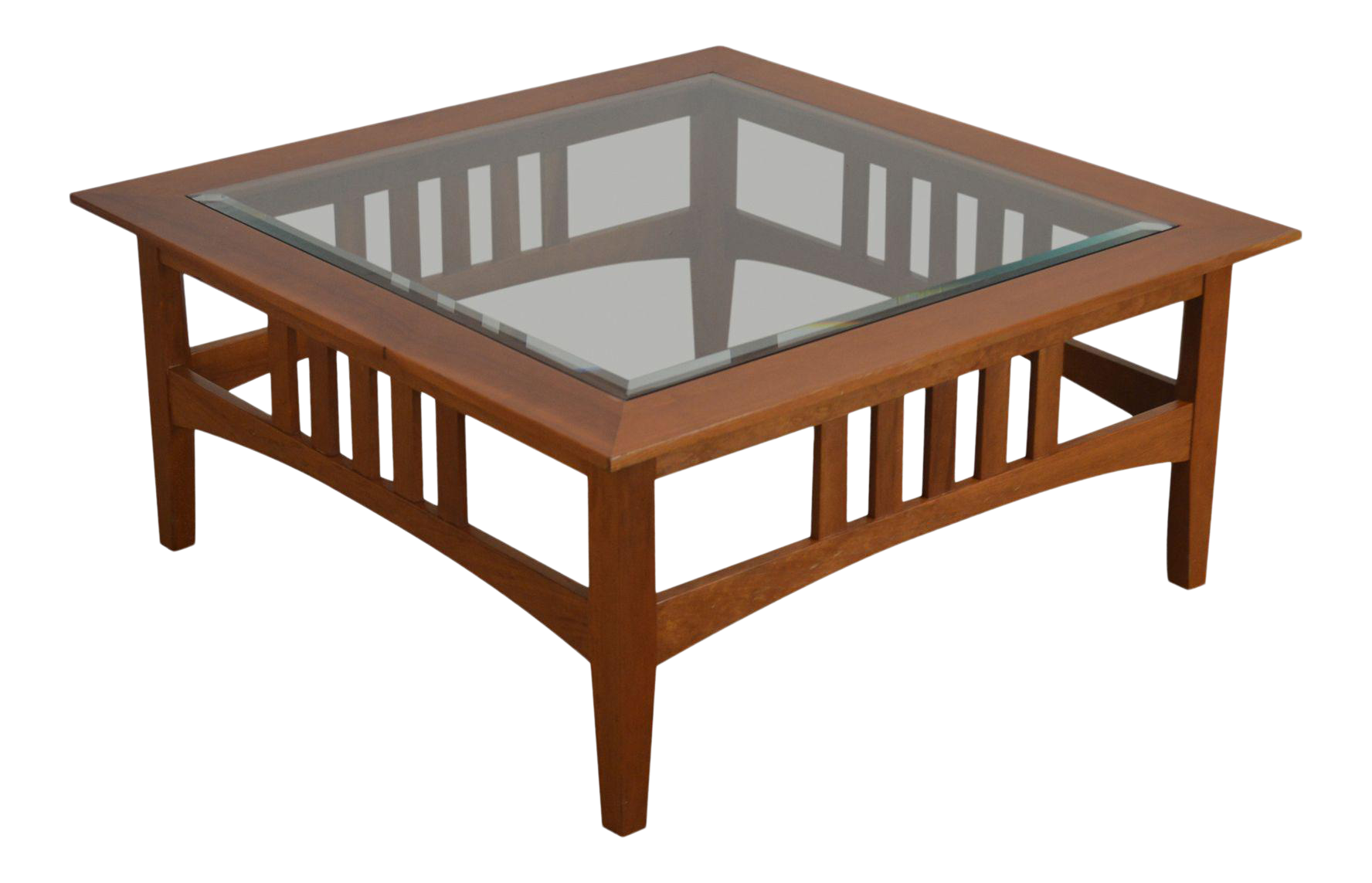 Custom Solid Cherry Square Glass Top American Impressions Style Coffee Table Chairish