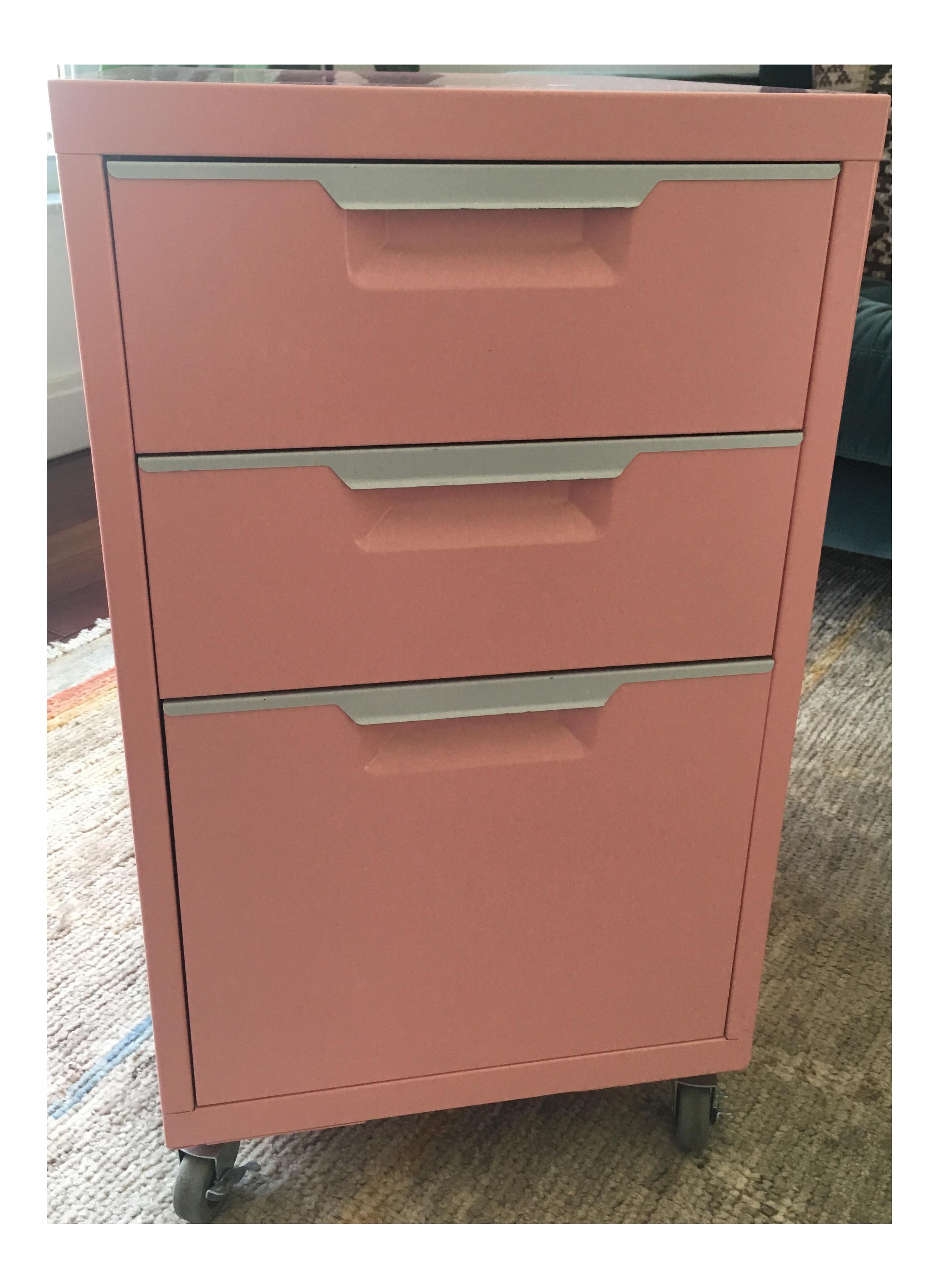 CB2 Pink Filing Cabinet