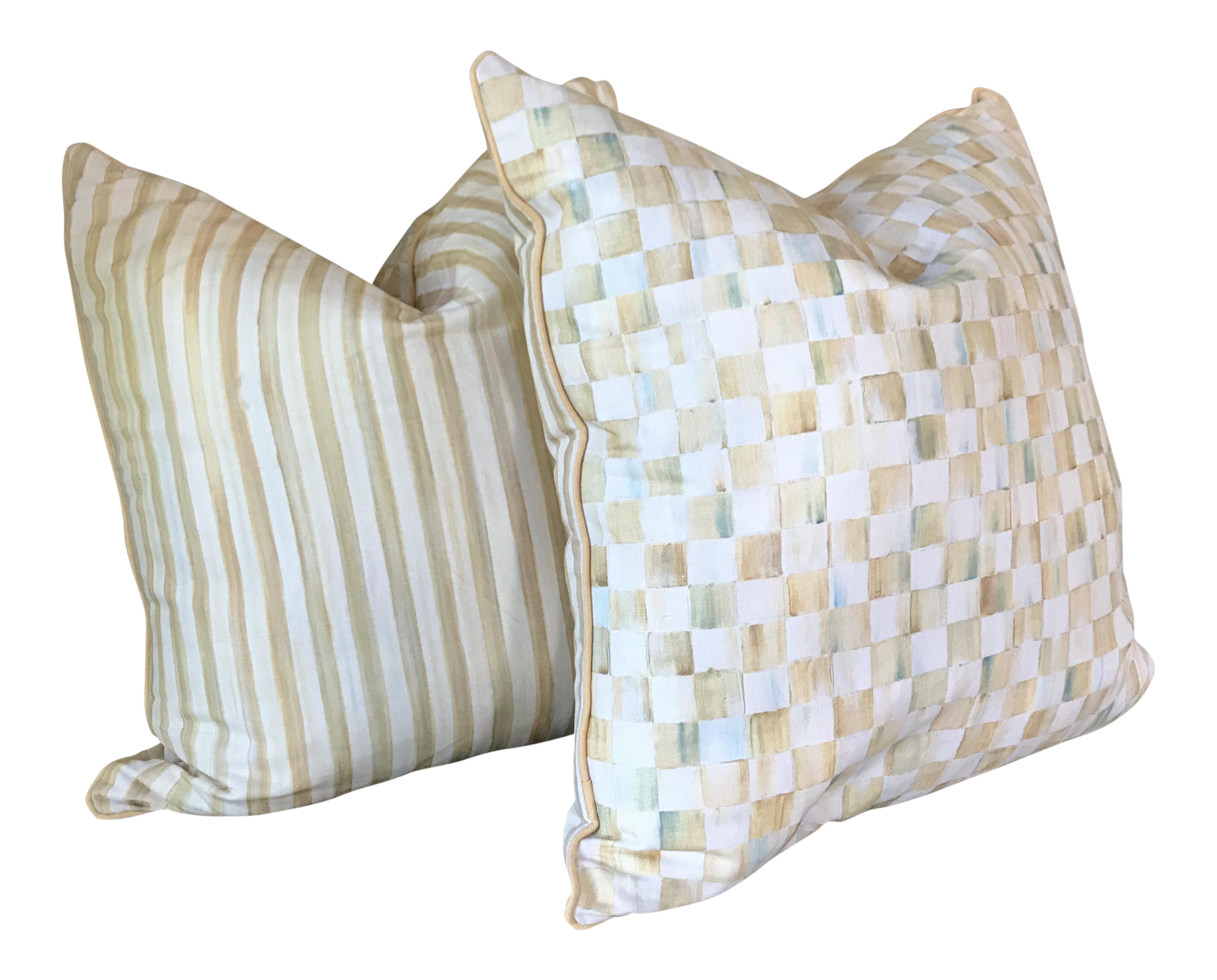 Mackenzie childs courtly check pillows a pair chairish arubaitofo Image collections