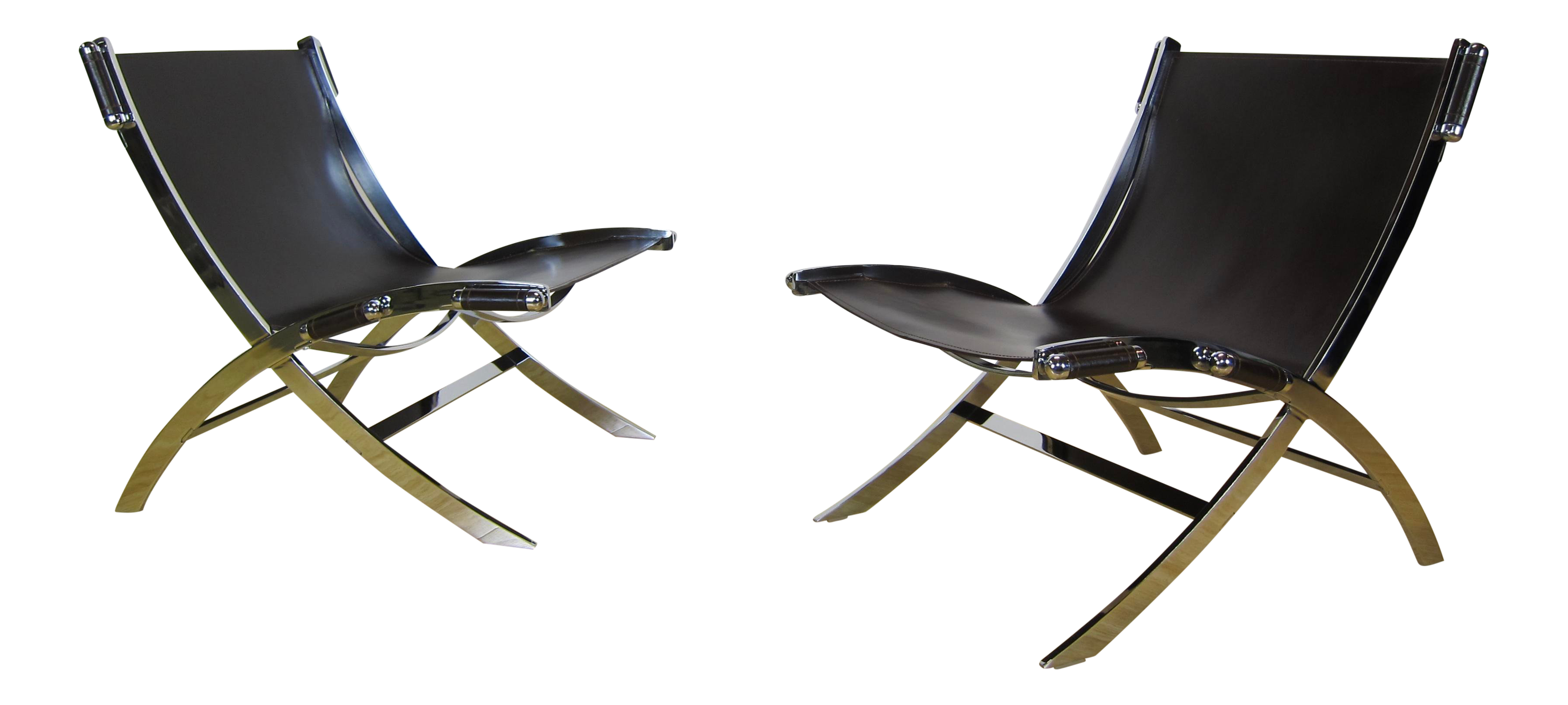 Modern Antonio Citterio for Flexform Italy  Timeless  Leather u0026 Chrome Sling Chairs - A Pair | Chairish  sc 1 st  Chairish & Modern Antonio Citterio for Flexform Italy